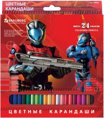 Цветные карандаши Star Patrol , 24 цв., Brauberg