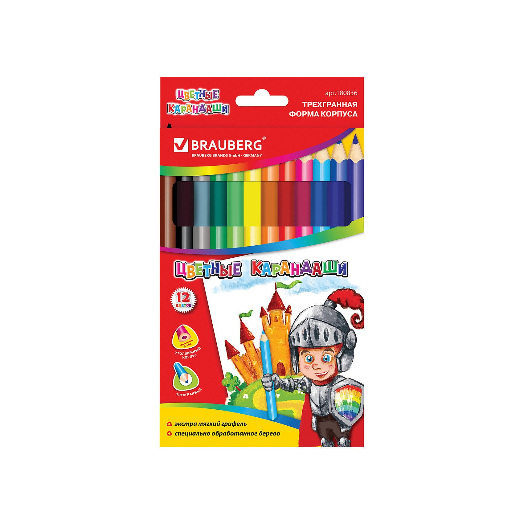 Цветные карандаши 12 цв., BraubergПисьменные принадлежности<br>Мягкий, равномерно красящий грифель изготовлен с использованием натуральных красителей. Рисунок ляжет на бумагу густо, сплошной четкой линией. Увеличенный трехгранный корпус карандаша удобен для юных художников.<br><br>Дополнительная информация:<br><br>- 12 цветов.<br>- Диаметр грифеля - 5 мм.<br>- Высокосортная древесина.<br>- Увеличенный трегранный корпус.<br>- Легко затачиваются.<br>- Размер упаковки: 17,8х0,8х11,3 см.<br>- Вес в упаковке: 140 г.<br><br>Цветные карандаши  Brauberg можно купить в нашем магазине.<br><br>Ширина мм: 178<br>Глубина мм: 8<br>Высота мм: 113<br>Вес г: 140<br>Возраст от месяцев: 72<br>Возраст до месяцев: 2147483647<br>Пол: Унисекс<br>Возраст: Детский<br>SKU: 4792670