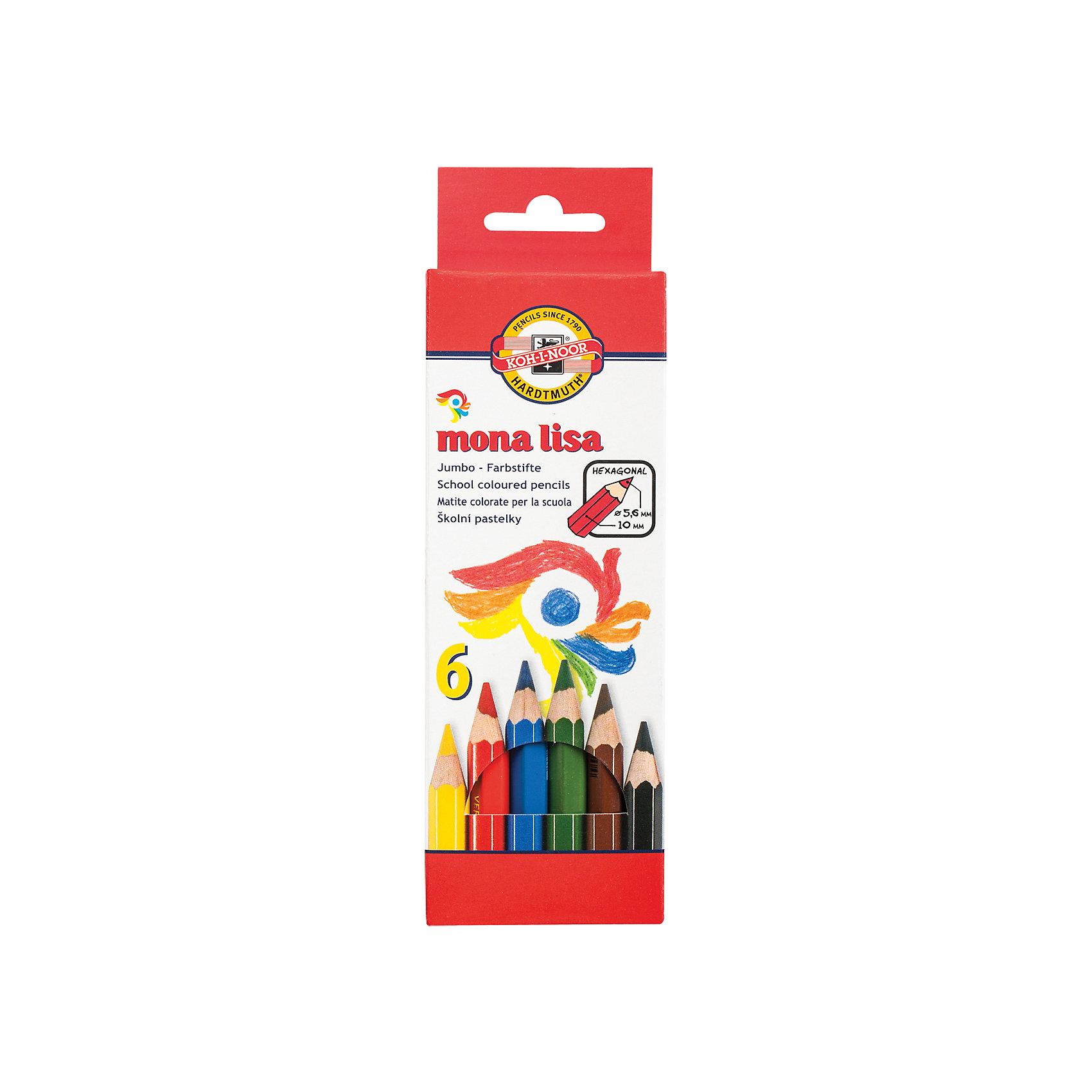 Цветные карандаши Mona Lisa, 6 цв., KOH-I-NOORРисование<br>Цветные заточенные карандаши изготовлены из экологически чистых материалов высшего качества. <br><br>Порадуйте своего юного художника приятным подарком!<br><br>Дополнительная информация: <br><br>- 6 цветов.<br>- Высокосортная древесина.<br>- Заточены.<br>- Шестигранная форма корпуса.<br>- Диаметр грифеля - 5,6 мм.<br>- Размер упаковки: 13,5х20х0,6 см.<br>- Вес в упаковке: 90 г.<br><br>Цветные карандаши Mona Lisa  KOH-I-NOOR можно купить в нашем магазине.<br><br>Ширина мм: 135<br>Глубина мм: 200<br>Высота мм: 6<br>Вес г: 90<br>Возраст от месяцев: 72<br>Возраст до месяцев: 2147483647<br>Пол: Унисекс<br>Возраст: Детский<br>SKU: 4792672