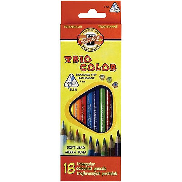 Цветные карандаши Triocolor, 18 цв., KOH-I-NOORПисьменные принадлежности<br>Трехгранная форма корпуса карандаша позволяет снизить усталость при рисовании и письме, развивает мелкую моторику пальцев, что особенно важно для детей младшего школьного возраста. Карандаши имеют прочный неломающийся грифель, не требующий сильного нажатия.<br>Цветные заточенные карандаши изготовлены из экологически чистых материалов высшего качества. <br><br>Дополнительная информация:<br><br>- 18 цветов. <br>- Высокосортная древесина. <br>- Заточенные.<br>- Трехгранная форма корпуса. <br>- Диаметр грифеля - 3,2 мм. <br>- Размер упаковки: 1,9х21х7,3 см.<br>- Вес в упаковке: 100 г.<br><br>Цветные карандаши Triocolor KOH-I-NOOR можно купить в нашем магазине.<br>Ширина мм: 19; Глубина мм: 210; Высота мм: 73; Вес г: 100; Возраст от месяцев: 72; Возраст до месяцев: 2147483647; Пол: Унисекс; Возраст: Детский; SKU: 4792674;