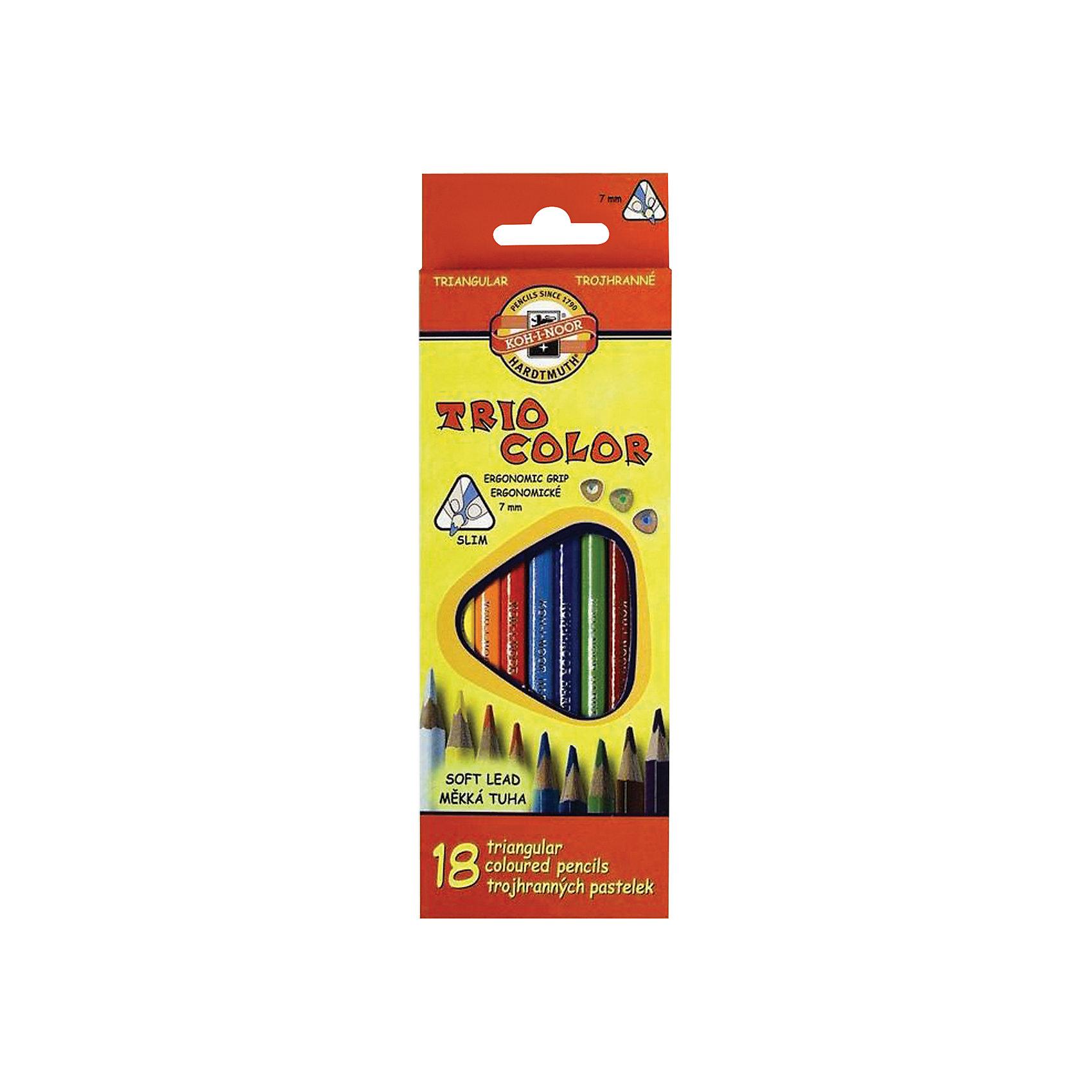 Цветные карандаши Triocolor, 18 цв., KOH-I-NOORТрехгранная форма корпуса карандаша позволяет снизить усталость при рисовании и письме, развивает мелкую моторику пальцев, что особенно важно для детей младшего школьного возраста. Карандаши имеют прочный неломающийся грифель, не требующий сильного нажатия.<br>Цветные заточенные карандаши изготовлены из экологически чистых материалов высшего качества. <br><br>Дополнительная информация:<br><br>- 18 цветов. <br>- Высокосортная древесина. <br>- Заточенные.<br>- Трехгранная форма корпуса. <br>- Диаметр грифеля - 3,2 мм. <br>- Размер упаковки: 1,9х21х7,3 см.<br>- Вес в упаковке: 100 г.<br><br>Цветные карандаши Triocolor KOH-I-NOOR можно купить в нашем магазине.<br><br>Ширина мм: 19<br>Глубина мм: 210<br>Высота мм: 73<br>Вес г: 100<br>Возраст от месяцев: 72<br>Возраст до месяцев: 2147483647<br>Пол: Унисекс<br>Возраст: Детский<br>SKU: 4792674