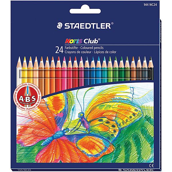 Цветные карандаши Noris club, 24 цв., StaedtlerЦветные<br>Цветные карандаши шестигранной формы. Система защиты от поломки ABS (Anti-break-system) - белый защитный слой - увеличивает устойчивость и сокращает ломкость грифеля. Пусть Ваш ребенок наслаждается  своим творчеством!<br><br>Дополнительная информация:<br><br>- 24 цвета.<br>- Высокосортная древесина.<br>- Шестигранный корпус.<br>- Заточенные.<br>- Размер упаковки: 0,9х17,5х19,7  см.<br>- Вес в упаковке: 140 г.<br><br>Цветные карандаши Noris club Staedtler можно купить в нашем магазине.<br><br>Ширина мм: 9<br>Глубина мм: 175<br>Высота мм: 197<br>Вес г: 140<br>Возраст от месяцев: 72<br>Возраст до месяцев: 2147483647<br>Пол: Унисекс<br>Возраст: Детский<br>SKU: 4792676