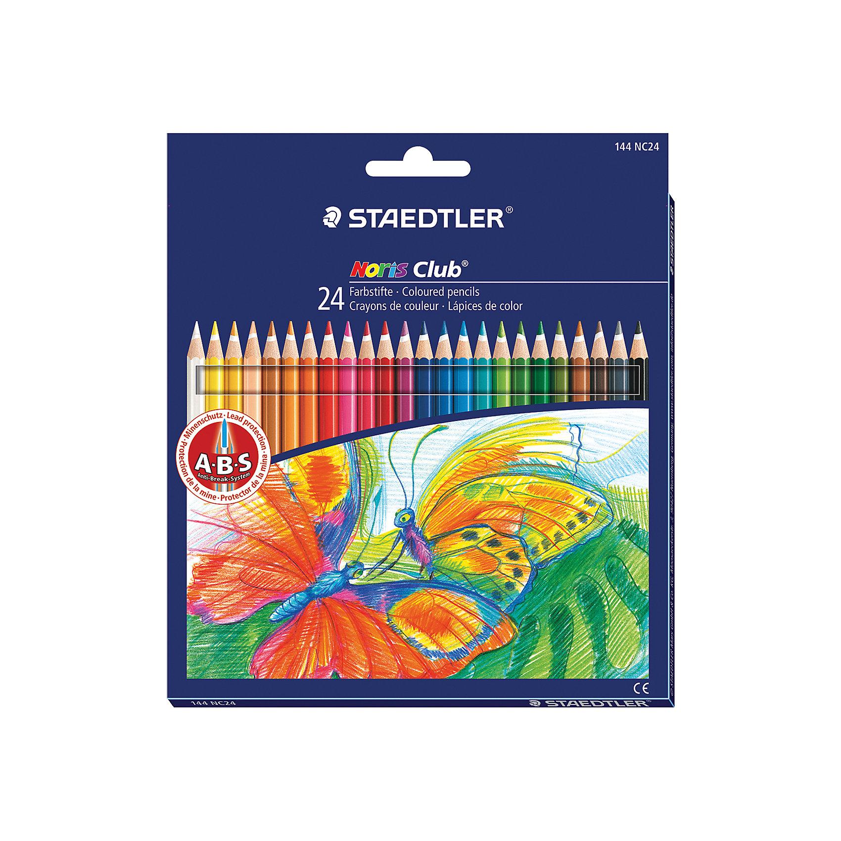 Цветные карандаши Noris club, 24 цв., StaedtlerПисьменные принадлежности<br>Цветные карандаши шестигранной формы. Система защиты от поломки ABS (Anti-break-system) - белый защитный слой - увеличивает устойчивость и сокращает ломкость грифеля. Пусть Ваш ребенок наслаждается  своим творчеством!<br><br>Дополнительная информация:<br><br>- 24 цвета.<br>- Высокосортная древесина.<br>- Шестигранный корпус.<br>- Заточенные.<br>- Размер упаковки: 0,9х17,5х19,7  см.<br>- Вес в упаковке: 140 г.<br><br>Цветные карандаши Noris club Staedtler можно купить в нашем магазине.<br><br>Ширина мм: 9<br>Глубина мм: 175<br>Высота мм: 197<br>Вес г: 140<br>Возраст от месяцев: 72<br>Возраст до месяцев: 2147483647<br>Пол: Унисекс<br>Возраст: Детский<br>SKU: 4792676
