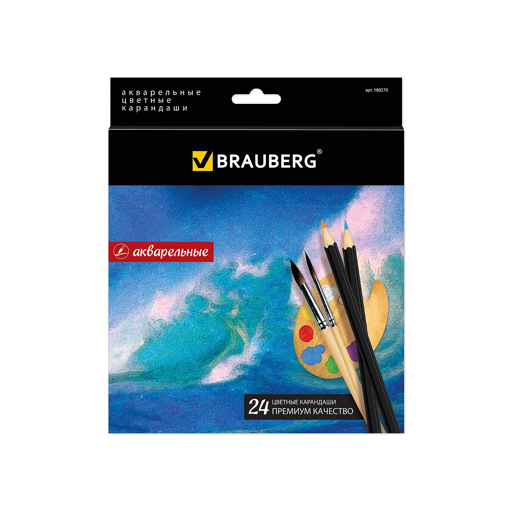 Цветные карандаши акварельные Artist line, 24 цв., BraubergВ наборе 24 цветных акварельных карандаша. Высокое качество грифеля с абсолютной чистотой палитры гарантирует равномерную насыщенность цвета по всей поверхности и стопроцентную растворимость в воде.<br><br>Дополнительная информация: <br><br>- 24 цвета.<br>- Акварельные.<br>- Диаметр грифеля - 3 мм.<br>- Высокосортная древесина.<br>- Шестигранный корпус.<br>- Легко затачиваются.<br>- Размер упаковки: 0,9х17,5х19,7  см.<br>- Вес в упаковке: 140 г.<br><br>Цветные карандаши Artist line Brauberg можно купить в нашем магазине.<br><br>Ширина мм: 200<br>Глубина мм: 180<br>Высота мм: 8<br>Вес г: 182<br>Возраст от месяцев: 72<br>Возраст до месяцев: 2147483647<br>Пол: Унисекс<br>Возраст: Детский<br>SKU: 4792677