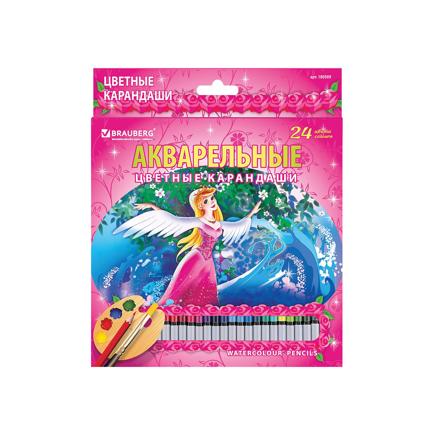 Цветные карандаши акварельные Rose Angel, 24 цв., BraubergВ наборе 24 цветных акварельных карандаша. Высокое качество грифеля с абсолютной чистотой цвета гарантирует равномерную насыщенность по всей поверхности и 100% растворимость грифеля в воде.<br>Порадуйте своего ребенка замечательным подарком!<br><br>Дополнительная информация:<br><br>- 24 цвета.<br>- Грифель высокого качества, диаметр - 3 мм.<br>- Акварельные.<br>- Высокосортная древесина.<br>- Легко затачиваются.<br>- Легко размываются влажной кистью.<br>- Размер упаковки: 20х18х0,8 см. <br>- Вес в упаковке: 182  г.<br><br>Цветные карандаши Rose Angel Brauberg можно купить в нашем магазине.<br><br>Ширина мм: 200<br>Глубина мм: 180<br>Высота мм: 8<br>Вес г: 182<br>Возраст от месяцев: 72<br>Возраст до месяцев: 2147483647<br>Пол: Унисекс<br>Возраст: Детский<br>SKU: 4792678