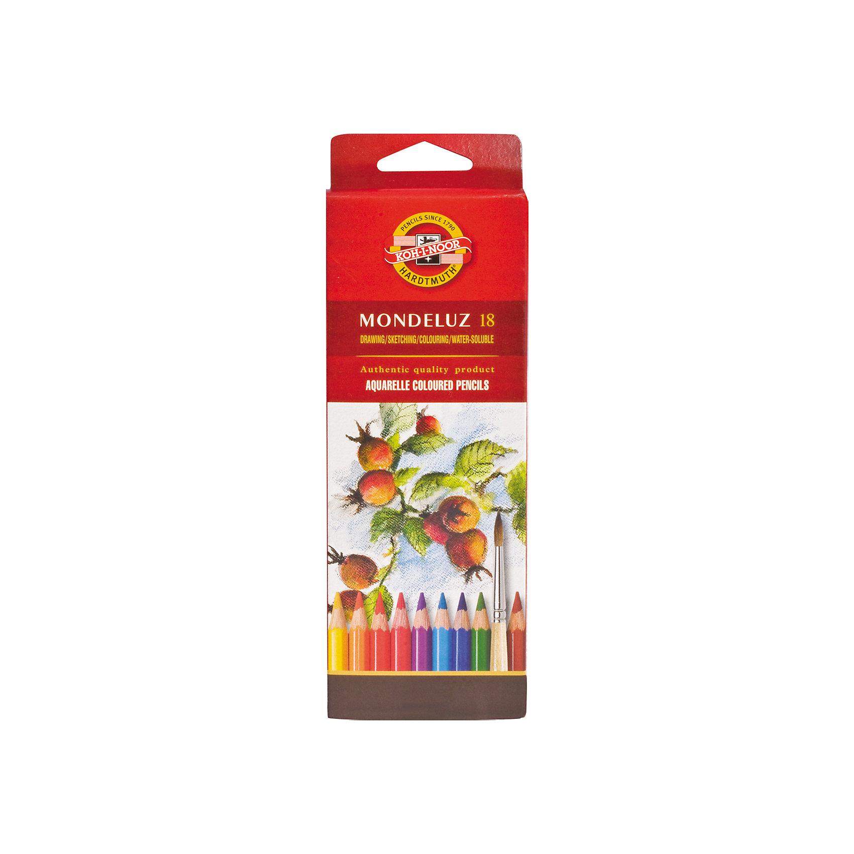 Цветные карандаши акварельные Mondeluz, 18 цв., KOH-I-NOORПрофессиональные цветные карандаши высокого качества. Предназначены для использования в графическом искусстве, где важна чёткая передача цвета и линий. Абсолютная чистота, насыщенность и равномерность цвета по всей поверхности рисунка.<br><br>Дополнительная информация: <br><br>- Высококачественные цветные чешские карандаши для художественных работ, при размывании водой создают эффект рисунка акварелью.<br>- 18 ярких цветов в наборе.<br>- Акварельный эффект под воздействием воды.<br>- Изготовлены из кедра специальной породы.<br>- Легко затачиваются.<br>- Размер упаковки: 6,6х20х1,6 см. <br>- Вес в упаковке: 105  г.<br><br>Цветные карандаши акварельные Mondeluz  KOH-I-NOOR можно купить в нашем магазине.<br><br>Ширина мм: 66<br>Глубина мм: 200<br>Высота мм: 16<br>Вес г: 105<br>Возраст от месяцев: 72<br>Возраст до месяцев: 2147483647<br>Пол: Унисекс<br>Возраст: Детский<br>SKU: 4792679