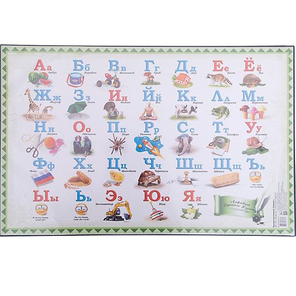 Настольный коврик-подкладка для письма с русским алфавитомШкольные аксессуары<br>Настольное покрытие для письма придает столу аккуратный вид. Обеспечивает удобство при письме. Является хорошей защитой для стола от разного рода повреждений. Цветная вкладка содержит русский алфавит с картинками.<br><br>Дополнительная информация:<br><br>- Материал: ПВХ.<br>- Размер: 38х59 см.<br>- Карта мира: на верхней поверхности.<br>- Размер упаковки: 38х58,3х0,1 см.<br>- Вес в упаковке: 470  г.<br><br>Настольный коврик-подкладку для письма с русским алфавитом, можно купить в нашем магазине.<br>Ширина мм: 380; Глубина мм: 583; Высота мм: 1; Вес г: 470; Возраст от месяцев: 72; Возраст до месяцев: 2147483647; Пол: Унисекс; Возраст: Детский; SKU: 4792685;