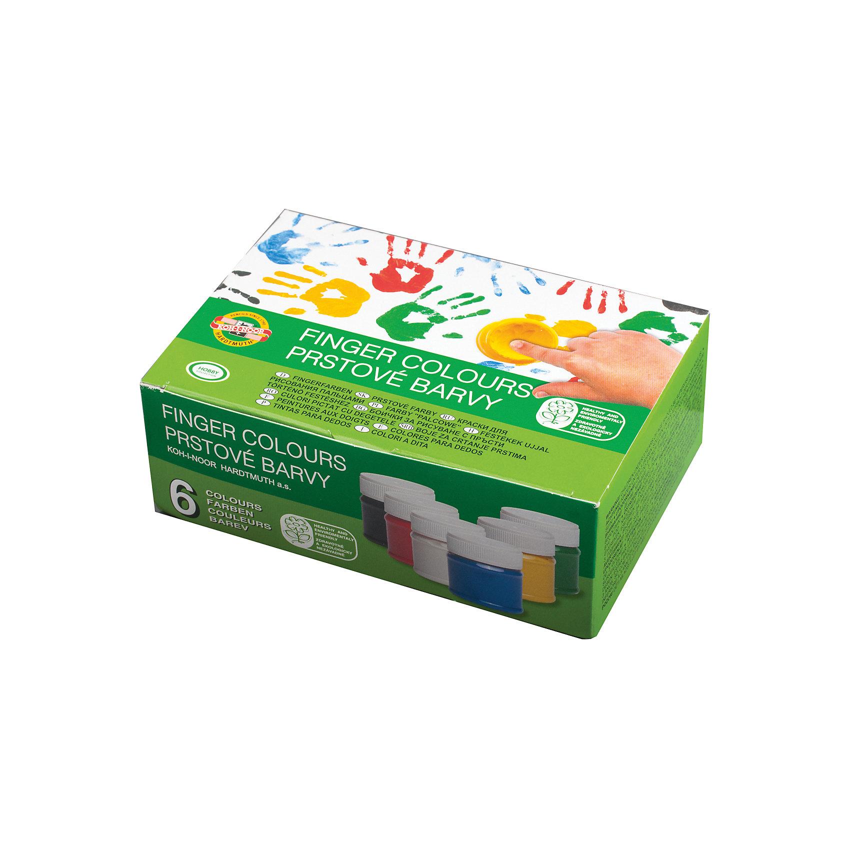 Пальчиковый краски 6 цв., KOH-I-NOORКраски изготовлены на водной основе и безопасны для малыша. Легко смываются со стекла и рук и легко отстирываются от одежды, что не мало важно! Красками можно рисовать на любой поверхности (бумага, стекло, пластмасса, металл).<br><br>Дополнительная информация: <br><br>- Набор - 6 цветов (белый, желтый, красный, синий, зеленый, черный).<br>- Расфасованы в баночки по 50 мл.<br>- Размер упаковки: 10х18х3,6 см.<br>- Вес в упаковке: 400  г.<br><br>Пальчиковые краски  KOH-I-NOOR можно купить в нашем магазине.<br><br>Ширина мм: 100<br>Глубина мм: 180<br>Высота мм: 36<br>Вес г: 400<br>Возраст от месяцев: 72<br>Возраст до месяцев: 2147483647<br>Пол: Унисекс<br>Возраст: Детский<br>SKU: 4792688