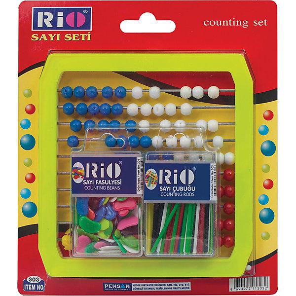 Набор детских счетов RIOПособия для обучения счёту<br>Набор включает в себя счеты, счетные палочки и бобы. Используется для обучения детей дошкольного и младшего школьного возраста арифметическим действиям. Развивают моторику, а  красочный дизайн привносит в занятия игровой элемент.<br><br>Дополнительная информация:<br><br>- Материал - пластик.<br>- Размер счетов - 160?160?12 мм.<br>- Счетные палочки и бобы в отдельных упаковках с европодвесом.<br>- Цвет - ассорти.<br>- Размер упаковки: 1,7х19х30 см.<br>- Вес в упаковке: 258 г.<br><br>Набор детских счетов RIO можно купить в нашем магазине.<br>Ширина мм: 17; Глубина мм: 190; Высота мм: 300; Вес г: 258; Возраст от месяцев: 72; Возраст до месяцев: 2147483647; Пол: Унисекс; Возраст: Детский; SKU: 4792690;