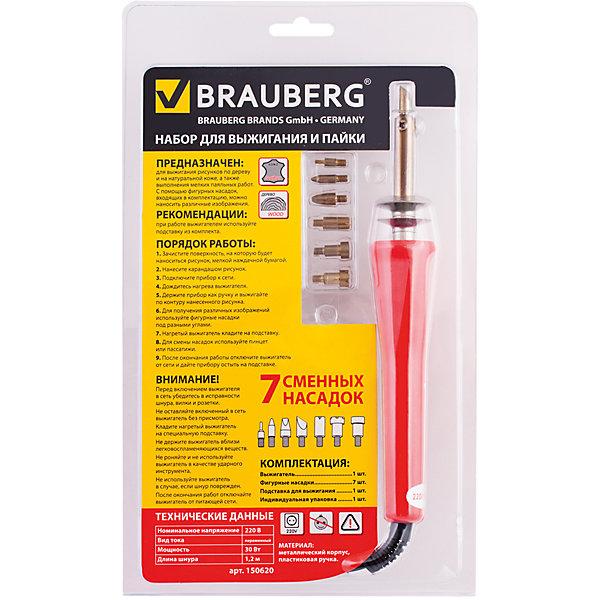 Набор для выжигания и пайки, BraubergНаборы для выжигания<br>Набор, состоящий из выжигателя и 7-ми сменных фигурных насадок, предназначен для выжигания художественных узоров, рисунков и изображений на деревянных поверхностях и коже. Специальная подставка в наборе обеспечивает дополнительное удобство применения.<br><br>Дополнительная информация: <br><br>- В наборе: выжигательный прибор, 7 сменных фигурных насадок.<br>- Номинальное напряжение - 220 В.<br>- Мощность - 30 Вт.<br>- Длина шнура - 1,2 м.<br>- Подставка для выжигателя прилагается.<br>- Цвет корпуса - красный.<br>- Размер упаковки: 28х4х16,5 см.<br>- Вес в упаковке: 260 г. <br><br>Набор для выжигания и пайки Brauberg можно купить в нашем магазине.<br><br>Ширина мм: 280<br>Глубина мм: 40<br>Высота мм: 165<br>Вес г: 260<br>Возраст от месяцев: 72<br>Возраст до месяцев: 2147483647<br>Пол: Унисекс<br>Возраст: Детский<br>SKU: 4792699