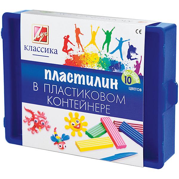 Пластилин Классика, 10 цв., ЛУЧРисование и лепка<br>Пластилин предназначен для лепки и моделирования в детском творчестве. Изготовлен из высококачественных компонентов. Идеально подходит для работы мультипликаторов. Легко лепится и не прилипает к рукам, идеально держит форму, обладает яркими цветами.<br><br>Дополнительная информация:<br><br>- 10 цветов.<br>- Масса - 200 г.<br>- Со стеком.<br>- Поставляется в пластиковом контейнере<br>- Размер упаковки: 13,4х17х3,7 см.<br>- Вес в упаковке: 300 г. <br><br>Пластилин Классика ЛУЧ  можно  купить в нашем магазине.<br><br>Ширина мм: 134<br>Глубина мм: 170<br>Высота мм: 37<br>Вес г: 300<br>Возраст от месяцев: 72<br>Возраст до месяцев: 2147483647<br>Пол: Унисекс<br>Возраст: Детский<br>SKU: 4792733
