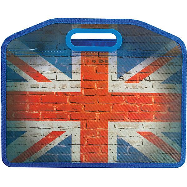 Папка-сумка Brauberg Флаг, А4Папки для дополнительных занятий<br>Характеристики товара:<br><br>• формат: А4;<br>• размер: 37х30х10 см;<br>• возраст: от 7 лет;<br>• застежка: молния;<br>• материал: полипропилен;<br>• толщина материала: 0,5 мм;<br>• цвет: серый/синий/красный;<br>• вес: 188 грамм;<br>• страна бренда: Германия;<br>• страна изготовитель: Китай.<br><br>Пластиковая сумка «Флаг» отлично подойдет для студентов и учащихся старших классов. Сумка изготовлена из полипропилена, застёгивается молнию. Модель состоит из одного вместительного отделения. Оригинальный дизайн с британским флагом подчеркнет изысканный вкус владельца.<br><br>Сумку пластиковую Brauberg (Брауберг) А4 37*30 см, на молнии, цв.печать, универсальная, Флаг, 223804 можно купить в нашем интернет-магазине.<br><br>Ширина мм: 340<br>Глубина мм: 410<br>Высота мм: 5<br>Вес г: 188<br>Возраст от месяцев: 72<br>Возраст до месяцев: 2147483647<br>Пол: Мужской<br>Возраст: Детский<br>SKU: 4792765