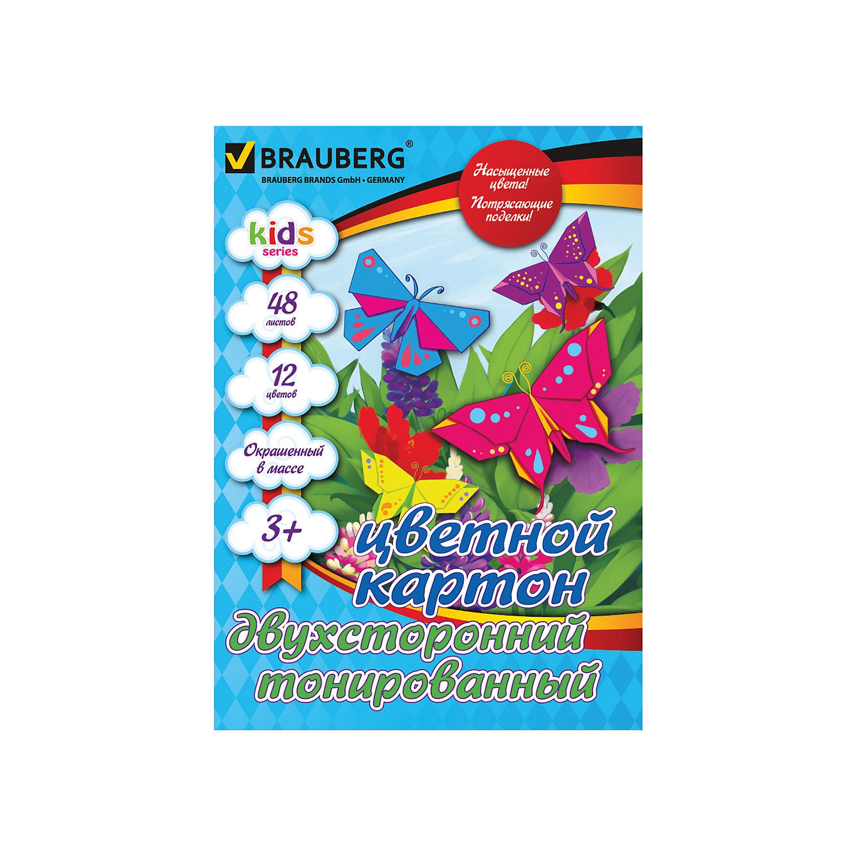 Brauberg Цветной картон А4, 48 л., 12 цв. росмэн цветной картон щенячий патруль 10 л 10 цв