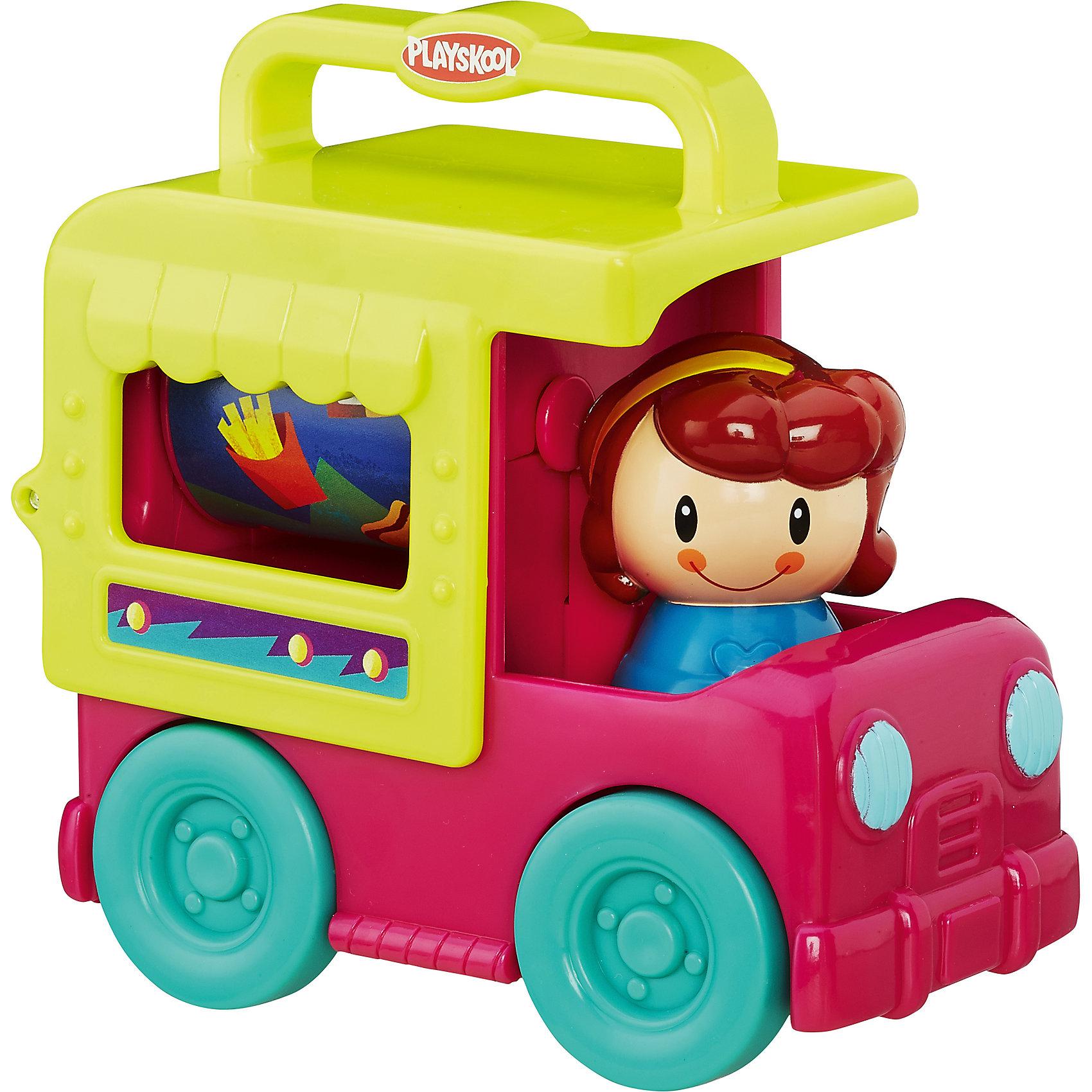 Грузовичок сложи и кати, возьми с собой,  PLAYSKOOL, малиновыйХарактеристики игрушки:<br><br>• Предназначение: для сюжетно-ролевых и подвижных игр<br>• Пол: для девочки<br>• Цвет: малиновый, желтый, бирюзовый<br>• Материал: пластик<br>• Комплектация: грузовик, фигурка девочки, вращающийся барабан в кузове<br>• Вес: 218 гр.<br>• Размеры: 12*7*11 см<br><br>Грузовичок сложи и кати, возьми с собой,  PLAYSKOOL, малиновый может по праву стать первой и любимой машинкой вашей малышки.  Грузовичок выполнен в ярком красочном дизайне, в кабине имеется съемная фигурка девочки, в кузове – вращающийся со звуком барабан. Колеса у игрушки широкие и прочные, легко катаются по любой поверхности, на кузове имеется ручка, которая позволяет переносить машинку в руках. Игрушка выполнена из экологически безопасного материала – пластика, все детали окрашены экологически безопасными красками. <br><br>Грузовичок сложи и кати, возьми с собой,  PLAYSKOOL, малиновый подарит не только увлекательные игры, но и позволит развивать у ребенка координацию движений, мелкую моторику рук, зрительное и слуховое восприятие. <br><br>Грузовичок сложи и кати, возьми с собой,  PLAYSKOOL, малиновый можно купить в нашем интернет-магазине.<br><br>Подробнее:<br>Для детей в возрасте: от 1 года и до 3 лет<br>Номер товара: 4792809<br>Страна производитель: Китай<br><br>Ширина мм: 70<br>Глубина мм: 117<br>Высота мм: 121<br>Вес г: 249<br>Возраст от месяцев: 12<br>Возраст до месяцев: 36<br>Пол: Унисекс<br>Возраст: Детский<br>SKU: 4792809