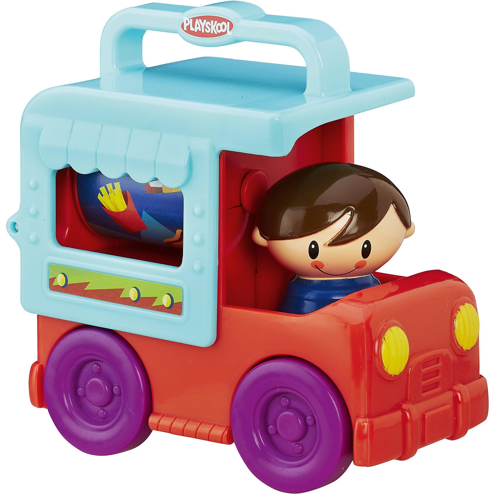 Грузовичок сложи и кати, возьми с собой,  PLAYSKOOL, оранжевыйХарактеристики игрушки:<br><br>• Предназначение: для сюжетно-ролевых и подвижных игр<br>• Пол: для мальчика<br>• Цвет: оранжевый, голубой, фиолетовый<br>• Материал: пластик<br>• Комплектация: грузовик, фигурка мальчика, вращающийся барабан в кузове<br>• Вес: 218 гр.<br>• Размеры: 12*7*11 см<br><br>Грузовичок сложи и кати, возьми с собой,  PLAYSKOOL, оранжевый может по праву стать первой и любимой машинкой вашего малыша.  Грузовичок выполнен в ярком красочном дизайне, в кабине имеется съемная фигурка девочки, в кузове – вращающийся со звуком барабан. Колеса у игрушки широкие и прочные, легко катаются по любой поверхности, на кузове имеется ручка, которая позволяет переносить машинку в руках. Игрушка выполнена из экологически безопасного материала – пластика, все детали окрашены экологически безопасными красками. <br><br>Грузовичок сложи и кати, возьми с собой,  PLAYSKOOL, оранжевый подарит не только увлекательные игры, но и позволит развивать у ребенка координацию движений, мелкую моторику рук, зрительное и слуховое восприятие. <br><br>Грузовичок сложи и кати, возьми с собой,  PLAYSKOOL, оранжевый можно купить в нашем интернет-магазине.<br><br>Подробнее:<br>Для детей в возрасте: от 1 года и до 3 лет<br>Номер товара: 4792810<br>Страна производитель: Китай<br><br>Ширина мм: 70<br>Глубина мм: 117<br>Высота мм: 121<br>Вес г: 249<br>Возраст от месяцев: 12<br>Возраст до месяцев: 36<br>Пол: Унисекс<br>Возраст: Детский<br>SKU: 4792810