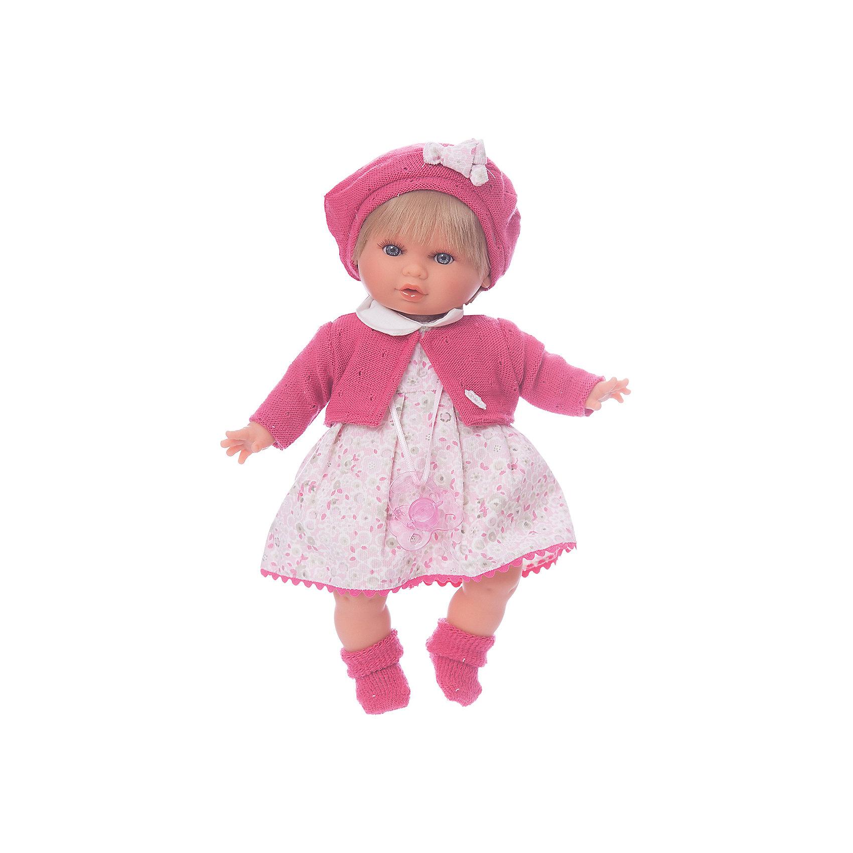 Кукла Кристиана в малиновом, 30 см, Munecas Antonio JuanКлассические куклы<br>Кукла Кристиана в малиновом, 30 см, JUAN ANTONIO munecas (Мунекас от Антонио Хуан) ? это очаровательная малышка от всемирно известного испанского бренда Мунекас от Антонио Хуан, который знаменит своими реалистичными куклами. Кукла изготовлена из винила высшего качества, ее тело ? мягконабивное, густые короткие волосы можно расчесывать. Ручки и ножки подвижны, глазки не закрываются. <br>Малышка Кристиана настолько очаровательна, что перед ней просто невозможно устоять! Настоящая блондинка с голубыми глазами, нежными чертами лица, розовыми щечками и пухленькими губками.  <br>Кукла Кристиана в малиновом, 30 см, JUAN ANTONIO munecas (Мунекас от Антонио Хуан) разработана с учетом анатомических особенностей и мимики младенцев. Играя с Кристианой, ваш ребенок реалистично проживает роль «мамы», учится ухаживать за малышом, заботиться о нем.<br>В комплекте с куклой идет соска, если ее достать из ротика, то Кристиана начинает плакать. <br>Одежда куклы разработана современными европейскими дизайнерами: платье Кристианы в нежный цветочек с белым воротничком и розовой каймой по низу. Сверху на ней одет трикотажный жакет розового цвета, носочки и берет в тон к нему. Весь комплект одежды и его продуманные детали направлены на то, чтобы способствовать формированию чувства стиля и вкуса в одежде у вашей девочки.<br>Куклы JUAN ANTONIO munecas (Мунекас от Антонио Хуан) ? мечта девочки любого возраста!<br><br>Дополнительная информация:<br><br>- Вид игр: сюжетно-ролевые игры <br>- Дополнительные функции: плачет<br>- Материал: пластик, винил, текстиль<br>- Высота куклы: 30 см<br>- Вес: 787 г<br>- Батарейки: 3 шт. АА<br>- Особенности ухода: одежда ? ручная стирка, саму куклу мыть не рекомендуется <br><br>Подробнее:<br><br>• Для детей в возрасте: от 3 лет и до 6 лет<br>• Страна производитель: Испания<br>• Торговый бренд: JUAN ANTONIO munecas <br><br>Куклу Кристиану в малиновом, 30 см, JUAN ANTONIO munecas (Мунека