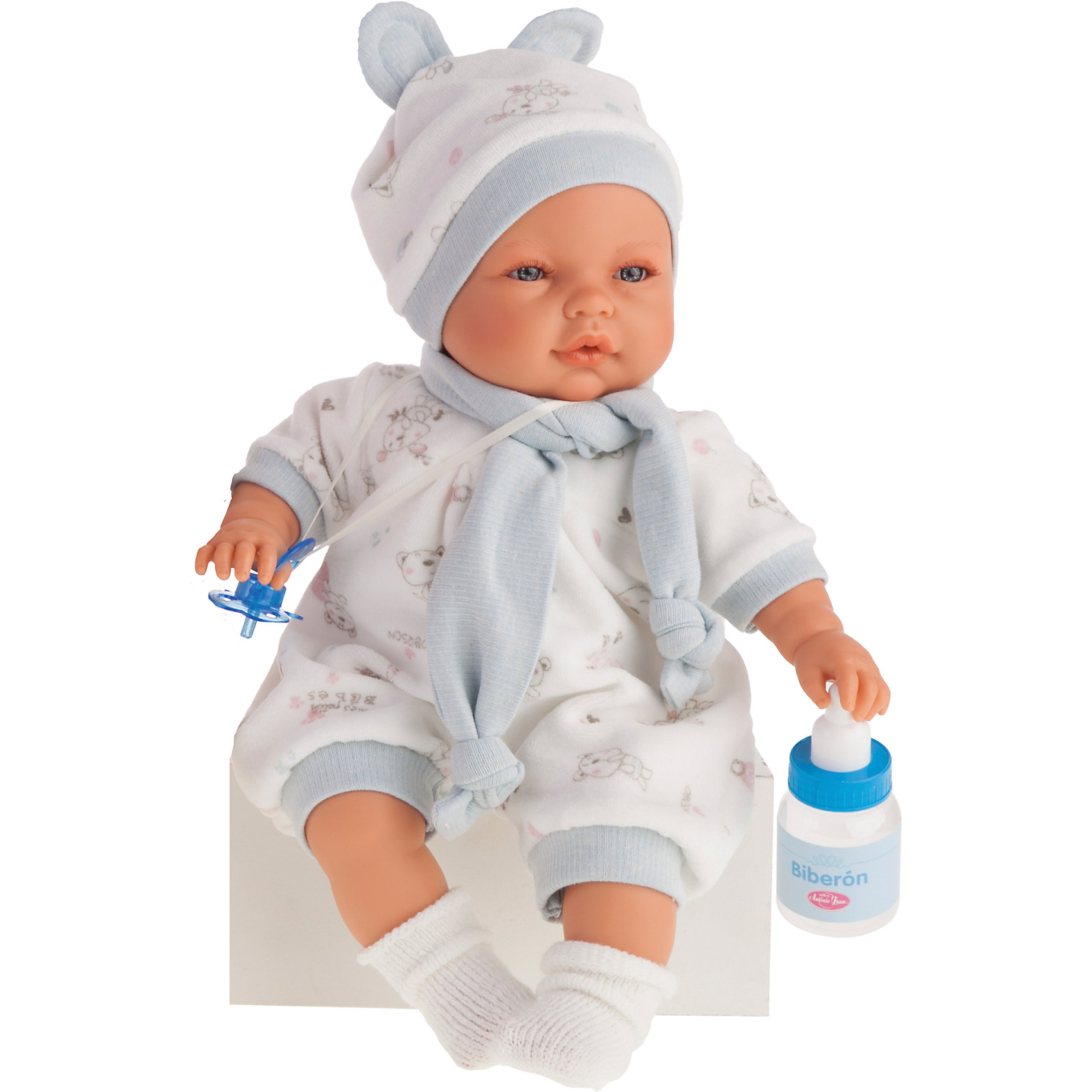 Кукла София в голубом, 37см, Munecas Antonio JuanКлассические куклы<br>Кукла София в голубом, 37 см, Munecas Antonio Juan (Мунекас от Антонио Хуан) ? это очаровательная малышка от всемирно известного испанского бренда Мунекас от Антонио Хуан, который знаменит своими реалистичными куклами. Кукла изготовлена из винила высшего качества,  ручки и ножки подвижны, глазки не закрываются. <br>Выразительный взгляд голубых глазах, нежные черты лица, розовые щечки, пухленькие губкеи и курносый носик ? малышка София очарует даже самую взыскательную девочку!<br>Кукла София в голубом, 37 см, Munecas Antonio Juan (Мунекас от Антонио Хуан) разработана с учетом анатомических особенностей и мимики младенцев. Играя с Софией, ваш ребенок реалистично проживает роль «мамы», учится ухаживать за малышом, заботиться о нем.<br>В комплекте с куклой идет соска и бутылочка. Если соску достать из ротика, София начинает плакать, успокаивается она, когда соску возвращают обратно в ротик. <br>Одежда куклы разработана современными европейскими дизайнерами: нежный комбинезон с голубыми манжетами, шапочка с ушками и белые носочки. Вокруг шеи повязан голубой шарфик. Весь комплект одежды и его продуманные детали направлены на то, чтобы способствовать формированию чувства стиля и вкуса в одежде у вашей девочки.<br>Куклы JUAN ANTONIO munecas (Мунекас от Антонио Хуан) ? мечта девочки любого возраста!<br><br>Дополнительная информация:<br><br>- Вид игр: сюжетно-ролевые игры <br>- Дополнительные функции: плачет<br>- Комплектация: кукла, соска, бутылочка<br>- Материал: пластик, винил, текстиль<br>- Высота куклы: 37 см<br>- Вес: 6 кг 120 г<br>- Батарейки: 3 шт. АА<br>- Особенности ухода: одежда ? ручная стирка <br><br>Подробнее:<br><br>• Для детей в возрасте: от 3 лет и до 6 лет<br>• Страна производитель: Испания<br>• Торговый бренд: JUAN ANTONIO munecas <br><br>Куклу Софию в голубом, 37 см, Munecas Antonio Juan  (Мунекас от Антонио Хуан) можно купить в нашем интернет-магазине.<br><br>Ширина мм: 440<br>Глубина 