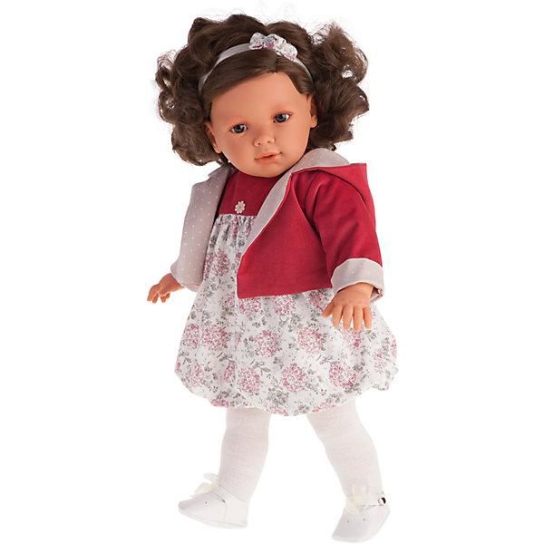 Кукла Аделина в красном, 55 см, Munecas Antonio JuanКуклы<br>Кукла Аделина в красном, 55 см, Munecas Antonio Juan (Мунекас от Антонио Хуан) ? это очаровательная малышка от всемирно известного испанского бренда Мунекас от Антонио Хуан, который знаменит своими реалистичными куклами. Кукла изготовлена из винила высшего качества, ее тело ? мягконабивное. Ручки и ножки подвижны, глазки не закрываются. <br>Маленькая девочка Аделина ? настоящая брюнетка с карими глазами. Длинные локоны Аделины можно укладывать в разные прически или заплетать косички. Аделина уже большая девочка, она весело смеется, говорит «мама» и «папа». Эта малышка непременно станет лучшей подружкой для вашей дочери.<br>Кукла Аделина в красном, 55 см, Munecas Antonio Juan (Мунекас от Антонио Хуан) разработана с учетом анатомических особенностей и мимики младенцев. Играя с куклой, ваш ребенок реалистично проживает роль «мамы», учится ухаживать за малышом, заботиться о нем.<br>Аделина ? настоящая модница. Ее яркое платьице и красная курточка разработаны современными европейскими дизайнерами. На малышке надеты белые колготочки и туфельки на завязочках. Весь комплект одежды демонстрирует чувство стиля и вкуса в одежде.<br>Куклы JUAN ANTONIO munecas (Мунекас от Антонио Хуан) ? мечта девочки любого возраста!<br><br>Дополнительная информация:<br><br>- Вид игр: сюжетно-ролевые игры <br>- Дополнительные функции: смеется, говорит «мама» и «папа»<br>- Материал: пластик, винил, текстиль<br>- Высота куклы: 55 см<br>- Вес: 13 кг 400 г<br>- Батарейки: 3 шт. АА<br>- Особенности ухода: одежда ? ручная стирка, саму куклу мыть не рекомендуется <br><br>Подробнее:<br><br>• Для детей в возрасте: от 3 лет и до 6 лет<br>• Страна производитель: Испания<br>• Торговый бренд: JUAN ANTONIO munecas <br><br>Куклу Аделину в красном, 55 см, Munecas Antonio Juan (Мунекас от Антонио Хуан) можно купить в нашем интернет-магазине.<br><br>Ширина мм: 590<br>Глубина мм: 290<br>Высота мм: 145<br>Вес г: 1340<br>Возраст от месяцев: 36<br>Возраст 
