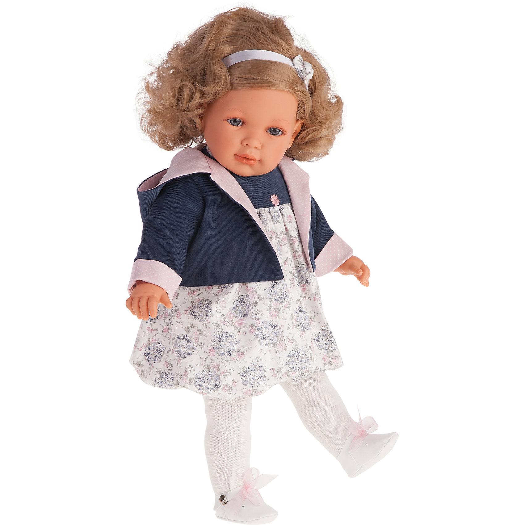 Кукла Аделина в синем, 55 см, Munecas Antonio JuanБренды кукол<br>Кукла Аделина в синем, 55 см, Munecas Antonio Juan (Мунекас от Антонио Хуан) ? это очаровательная малышка от всемирно известного испанского бренда Мунекас от Антонио Хуан, который знаменит своими реалистичными куклами. Кукла изготовлена из винила высшего качества, ее тело ? мягконабивное. Ручки и ножки подвижны, глазки не закрываются. <br>У маленькой девочки Аделины  русые волосы и голубые глаза. Длинные локоны Аделины можно укладывать в разные прически или заплетать косички. Аделина уже большая девочка, она весело смеется, говорит «мама» и «папа». Эта малышка непременно станет лучшей подружкой для вашей дочери.<br>Кукла Аделина в синем, 55 см, Munecas Antonio Juan (Мунекас от Антонио Хуан) разработана с учетом анатомических особенностей и мимики младенцев. Играя с куклой, ваш ребенок реалистично проживает роль «мамы», учится ухаживать за малышом, заботиться о нем.<br>Аделина ? настоящая модница. Ее нежное платьице и синяя курточка разработаны современными европейскими дизайнерами. На малышке надеты белые колготочки и туфельки на завязочках. Весь комплект одежды демонстрирует чувство стиля и вкуса в одежде.<br>Куклы JUAN ANTONIO munecas (Мунекас от Антонио Хуан) ? мечта девочки любого возраста!<br><br>Дополнительная информация:<br><br>- Вид игр: сюжетно-ролевые игры <br>- Дополнительные функции: смеется, говорит «мама» и «папа»<br>- Материал: пластик, винил, текстиль<br>- Высота куклы: 55 см<br>- Вес: 10 кг 500 г<br>- Батарейки: 3 шт. АА<br>- Особенности ухода: одежда ? ручная стирка, саму куклу мыть не рекомендуется <br><br>Подробнее:<br><br>• Для детей в возрасте: от 3 лет и до 6 лет<br>• Страна производитель: Испания<br>• Торговый бренд: JUAN ANTONIO munecas <br><br>Куклу Аделину в синем, 55 см, Munecas Antonio Juan (Мунекас от Антонио Хуан) можно купить в нашем интернет-магазине.<br><br>Ширина мм: 590<br>Глубина мм: 290<br>Высота мм: 145<br>Вес г: 1050<br>Возраст от месяцев: 36<br>Возраст до месяц