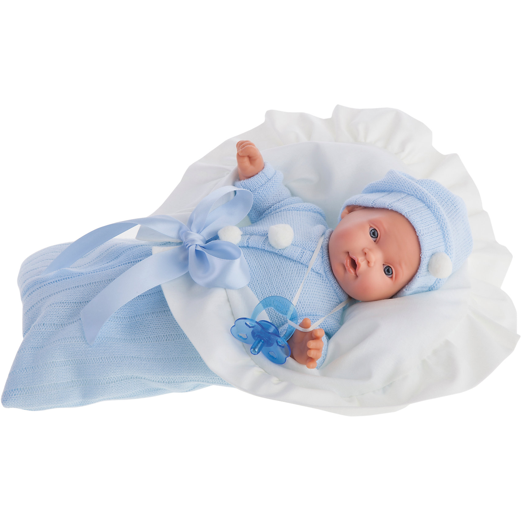 Кукла Ланита в голубом, 27 см, Munecas Antonio JuanКлассические куклы<br>Кукла Ланита в голубом, 27 см, Munecas Antonio Juan, (Мунекас от Антонио Хуан) ? это симпатичная малышка от всемирно известного испанского бренда Мунекас от Антонио Хуан, который знаменит своими реалистичными куклами. Кукла изготовлена из винила высшего качества, ее тело ? мягконабивное, ручки и ножки подвижны, голова поворачивается в стороны, глазки не закрываются. <br>Выразительный взгляд голубых глаз, обрамленных длинными пышными ресничками, нежные черты лица, розовые щечки, пухленькие губки и курносый носик. Ланита еще совсем крошка, поэтому она не расстается со своей соской, а если ее забрать, она начинает плакать. <br>Кукла Ланита в голубом, 27 см, Munecas Antonio Juan (Мунекас от Антонио Хуан) разработана с учетом анатомических особенностей и мимики младенцев. Играя с пупсом, ваш ребенок реалистично проживает роль «мамы», учится ухаживать за малышом, заботиться о нем.<br>У Ланиты голубой костюмчик и шапочка. На одежде имеются белые помпончики.  Бело-голубой конверт изготовлен в тон костюмчику. Весь комплект одежды демонстрирует тонкое чувства стиля и вкуса в одежде.<br>Куклы JUAN ANTONIO munecas (Мунекас от Антонио Хуан) ? мечта девочки любого возраста!<br><br>Дополнительная информация:<br><br>- Вид игр: сюжетно-ролевые игры <br>- Дополнительные функции: плачет<br>- Комплектация: кукла, соска, голубой конверт<br>- Материал: пластик, винил, текстиль<br>- Высота куклы: 27 см<br>- Вес: 1кг 260 г<br>- Батарейки: 3 шт. 3 LR44 (в комплекте)<br>- Особенности ухода: одежда ? ручная стирка, саму куклу мыть не рекомендуется <br><br>Подробнее:<br><br>• Для детей в возрасте: от 3 лет и до 6 лет<br>• Страна производитель: Испания<br>• Торговый бренд: JUAN ANTONIO munecas <br><br>Куклу Ланиту в голубом, 27 см, Munecas Antonio Juan (Мунекас от Антонио Хуан) (Мунекас от Антонио Хуан) можно купить в нашем интернет-магазине.<br><br>Ширина мм: 315<br>Глубина мм: 105<br>Высота мм: 180<br>Вес г: 1260<br>Возр