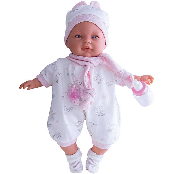 Кукла София в розовом, 37 см, Munecas Antonio JuanБренды кукол<br>Кукла София в розовом, 37см, Munecas Antonio Juan (Мунекас от Антонио Хуан) ? это очаровательная малышка от всемирно известного испанского бренда Мунекас от Антонио Хуан, который знаменит своими реалистичными куклами. Кукла изготовлена из винила высшего качества, ручки и ножки подвижны, глазки не закрываются. <br>Выразительный взгляд голубых глазах, нежные черты лица, розовые щечки, пухленькие губкеи и курносый носик ? малышка София очарует даже самую взыскательную девочку!<br>Кукла София в розовом, 37см, Munecas Antonio Juan (Мунекас от Антонио Хуан) разработана с учетом анатомических особенностей и мимики младенцев. Играя с Софией, ваш ребенок реалистично проживает роль «мамы», учится ухаживать за малышом, заботиться о нем.<br>В комплекте с куклой идет соска и бутылочка. Если соску достать из ротика, София начинает плакать, успокаивается она, когда соску возвращают обратно в ротик. <br>Одежда куклы разработана современными европейскими дизайнерами: нежный комбинезон с розовыми манжетами, шапочка с ушками и белые носочки. Вокруг шеи повязан розовый шарфик. Весь комплект одежды и его продуманные детали направлены на то, чтобы способствовать формированию чувства стиля и вкуса в одежде у вашей девочки.<br>Куклы JUAN ANTONIO munecas (Мунекас от Антонио Хуан) ? мечта девочки любого возраста!<br><br>Дополнительная информация:<br><br>- Вид игр: сюжетно-ролевые игры <br>- Дополнительные функции: плачет<br>- Комплектация: кукла, соска, бутылочка<br>- Материал: пластик, винил, текстиль<br>- Высота куклы: 37 см<br>- Вес: 6 кг 120 г<br>- Батарейки: 3 шт. АА<br>- Особенности ухода: одежда ? ручная стирка<br><br>Подробнее:<br><br>• Для детей в возрасте: от 3 лет и до 6 лет<br>• Страна производитель: Испания<br>• Торговый бренд: JUAN ANTONIO munecas <br><br>Куклу Софию в розовом 37 см, Munecas Antonio Juan  (Мунекас от Антонио Хуан) можно купить в нашем интернет-магазине.<br><br>Ширина мм: 440<br>Глубина мм: 245<br