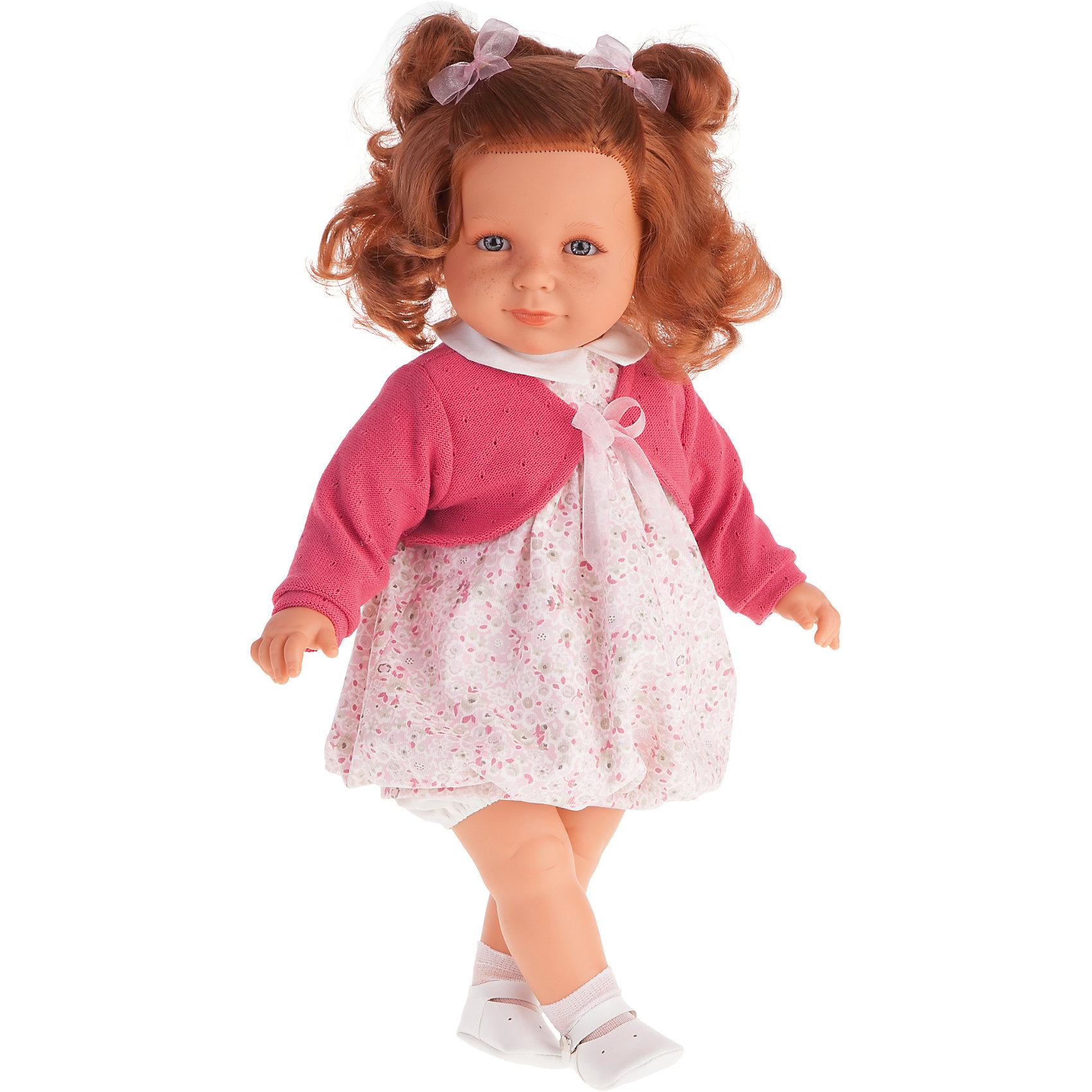 Кукла Нина в ярко-розовом, 55 см, Munecas Antonio JuanБренды кукол<br>Кукла Нина в розовом, 55 см, Munecas Antonio Juan (Мунекас от Антонио Хуан) ? это очаровательная малышка от всемирно известного испанского бренда Мунекас от Антонио Хуан, который знаменит своими реалистичными куклами. Кукла изготовлена из винила высшего качества, ее тело ? мягконабивное. Ручки и ножки подвижны, глазки не закрываются. <br>Маленькая девочка Нина с озорными локонами рыжего цвета, с голубыми глазами, нежными чертами лица, розовыми щечками, пухленькими губками и даже с веснушками. Длинные волосы Нины позволят их укладывать в разные прически или заплетать косички. Нина уже большая девочка, она весело смеется, говорит «мама» и «папа». Эта малышка непременно станет лучшей подружкой для вашей дочери.<br>Кукла Нина в розовом, 55 см, Munecas Antonio Juan (Мунекас от Антонио Хуан) разработана с учетом анатомических особенностей и мимики младенцев. Играя с куклой, ваш ребенок реалистично проживает роль «мамы», учится ухаживать за малышом, заботиться о нем.<br>Нина ? настоящая модница. Ее нежное платьице разработано современными европейскими дизайнерами, поверх платья на Нине надето розовое болеро с завязками. На ножках носочки и белые ботиночки. Весь комплект одежды демонстрирует чувство стиля и вкуса в одежде.<br>Куклы JUAN ANTONIO munecas (Мунекас от Антонио Хуан) ? мечта девочки любого возраста!<br><br>Дополнительная информация:<br><br>- Вид игр: сюжетно-ролевые игры <br>- Дополнительные функции: смеется, говорит «мама» и «папа»<br>- Материал: пластик, винил, текстиль<br>- Высота куклы: 55 см<br>- Вес: 10 кг 050 г<br>- Батарейки: 3 шт. АА<br>- Особенности ухода: одежда ? ручная стирка, саму куклу мыть не рекомендуется <br><br>Подробнее:<br><br>• Для детей в возрасте: от 3 лет и до 6 лет<br>• Страна производитель: Испания<br>• Торговый бренд: JUAN ANTONIO munecas <br><br>Куклу Нину в розовом, 55 см, Munecas Antonio Juan (Мунекас от Антонио Хуан) можно купить в нашем интернет-магазине.<br><br