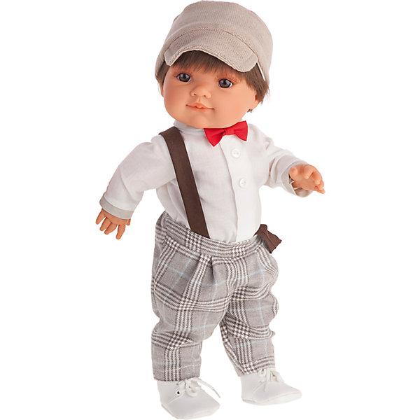 Кукла Фернандо, 38 см, Munecas Antonio JuanКуклы<br>Кукла Фернандо, 38 см, Munecas Antonio Juan (Мунекас от Антонио Хуан) ? это очаровательный и стильный мальчик от всемирно известного испанского бренда Мунекас от Антонио Хуан, который знаменит своими реалистичными куклами. Кукла изготовлена из винила высшего качества, ручки и ножки подвижны, глазки не закрываются, голова поворачивается в стороны.<br>Кукла Фернандо, 38 см, Munecas Antonio Juan (Мунекас от Антонио Хуан) разработана с учетом анатомических особенностей и мимики младенцев. У него карие глаза, а из-под кепки пробиваются короткие каштановые волосы. Играя с Фернандо, ваш ребенок научится опрятности и аккуратности в одежде, научится стильно и красиво одеваться.<br>У Фернандо праздничный наряд: белая рубашка, клетчатые брюки на подтяжках и белоснежные ботинки. Ярким элементом наряда является ярко-красная бабочка, повязанная под воротником рубашки.<br>Кукла Фернандо, 38 см, Munecas Antonio Juan (Мунекас от Антонио Хуан) ? идеальный подарок для девочки любого возраста!<br><br>Дополнительная информация:<br><br>- Вид игр: сюжетно-ролевые игры<br>- Материал: винил, текстиль<br>- Высота куклы: 38 см<br>- Вес: 1 кг 230 г<br>- Особенности ухода: одежда ? ручная стирка, куклу можно мыть<br><br>Подробнее:<br><br>• Для детей в возрасте: от 3 лет и до 6 лет<br>• Страна производитель: Испания<br>• Торговый бренд: JUAN ANTONIO munecas<br><br>Куклу Фернандо, 38 см, Munecas Antonio Juan (Мунекас от Антонио Хуан) можно купить в нашем интернет-магазине.<br>Ширина мм: 440; Глубина мм: 245; Высота мм: 120; Вес г: 1978; Возраст от месяцев: 36; Возраст до месяцев: 72; Пол: Женский; Возраст: Детский; SKU: 4792877;