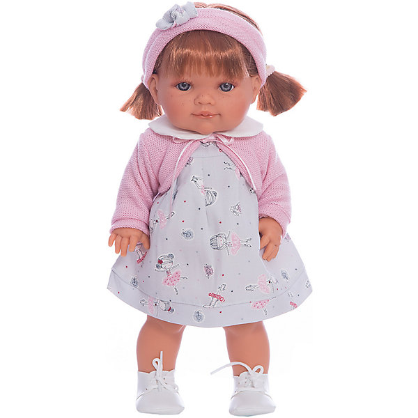 Кукла Эвелина, 38 см, Munecas Antonio JuanКуклы<br>Кукла Эвелина, 38 см, Munecas Antonio Juan (Мунекас от Антонио Хуан) ? это очаровательная малышка от всемирно известного испанского бренда Мунекас от Антонио Хуан, который знаменит своими реалистичными куклами. Кукла изготовлена из винила высшего качества, ручки и ножки подвижны, голова поворачивается в стороны, глазки не закрываются. <br>Маленькая девочка Эвелина, голубоглазая, с озорной улыбкой, нежными чертами лица, розовыми щечками, пухленькими губками и даже с веснушками. Волосы Эвелины собраны в 2 кокетливых хвостика, на голове ? розовая повязка с бантиком.  Эта малышка непременно станет лучшей подружкой для вашей дочери.<br>Кукла Эвелина, 38 см, Munecas Antonio Juan (Мунекас от Антонио Хуан) разработана с учетом анатомических особенностей и мимики младенцев. Играя с куклой, ваш ребенок реалистично проживает роль «мамы», учится ухаживать за малышом, заботиться о нем.<br>У Эвелины праздничный наряд: белое платьице с нежным рисунком и розовая кофточка. На ножках ботиночки на шнуровке. Весь комплект одежды демонстрирует простоту и стиль в одежде.<br>Куклы JUAN ANTONIO munecas (Мунекас от Антонио Хуан) ? мечта девочки любого возраста!<br><br>Дополнительная информация:<br><br>- Вид игр: сюжетно-ролевые игры <br>- Материал: винил, текстиль<br>- Высота куклы: 38 см<br>- Особенности ухода: одежда ? ручная стирка, куклу можно купать <br><br>Куклу Эвелину, 38 см, Munecas Antonio Juan (Мунекас от Антонио Хуан) можно купить в нашем интернет-магазине.<br><br>Ширина мм: 440<br>Глубина мм: 245<br>Высота мм: 120<br>Вес г: 9864<br>Возраст от месяцев: 36<br>Возраст до месяцев: 72<br>Пол: Женский<br>Возраст: Детский<br>SKU: 4792878