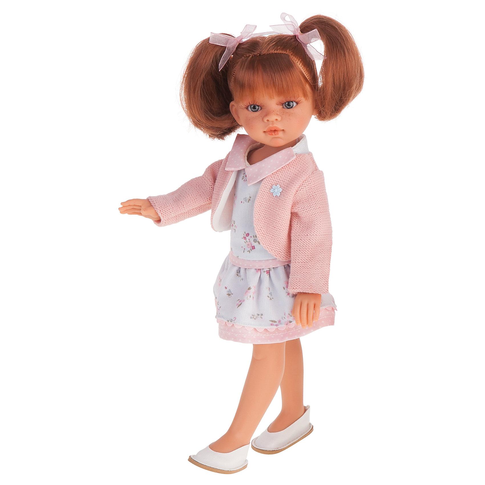 Эльвира летний образ, рыжая, 33 см, Munecas Antonio JuanБренды кукол<br>Эльвира летний образ, рыжая, 33 см, Munecas Antonio Juan (Мунекас от Антонио Хуан) ? это новый образ серии кукол от всемирно известного испанского бренда Мунекас от Антонио Хуан, который знаменит своими реалистичными куклами. Кукла изготовлена из винила высшего качества с добавлением силикона. Это куклы в образе подросших девочек, которые уже умеют разбираться в стильной одежде и правильно подбирать комплекты в зависимости от сезона. Эти куклы имеют стройную фигуру и милые выражения лица. Руки и ноги у куклы подвижны, голова поворачивается в стороны, глаза не закрываются. <br>Эльвира ? очаровательная девочка с рыжими волосами, голубыми глазами и рассыпанными по всему лицу веснушками. Эта симпатичная юная леди непременно станет лучшей подружкой для вашей дочери.<br>Эльвира летний образ, рыжая, 33 см, Munecas Antonio Juan (Мунекас от Антонио Хуан) научит вашу девочку чувствовать стиль в одежде, отличать дизайнерские вещи и правильно подбирать комплекты.<br>Эльвира в летнем образе одета в стильное платье с цветочным принтом и нежно розовое болеро, на котором прикреплена брошка в форме цветка. На ногах у нее белые туфли. Весь комплект демонстрирует сдержанность и стиль.<br>Куклы JUAN ANTONIO munecas (Мунекас от Антонио Хуан) ? мечта девочки любого возраста!<br><br>Дополнительная информация:<br><br>- Вид игр: сюжетно-ролевые игры <br>- Материал: винил, текстиль<br>- Высота куклы: 33 см<br>- Вес: 8 кг 400 г<br>- Особенности ухода: одежда ? ручная стирка, куклу можно купать <br><br>Подробнее:<br><br>• Для детей в возрасте: от 3 лет и до 6 лет<br>• Страна производитель: Испания<br>• Торговый бренд: JUAN ANTONIO munecas <br><br>Куклу Эльвиру летний образ, 33 см, Munecas Antonio Juan (Мунекас от Антонио Хуан) можно купить в нашем интернет-магазине.<br><br>Ширина мм: 390<br>Глубина мм: 245<br>Высота мм: 95<br>Вес г: 8400<br>Возраст от месяцев: 36<br>Возраст до месяцев: 72<br>Пол: Женский<br>Возраст: Детски