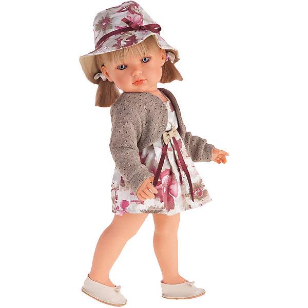 Белла в шляпке, блондинка, 45 см, Munecas Antonio JuanБренды кукол<br>Белла в шляпке, блондинка, 45 см, Munecas Antonio Juan (Мунекас от Антонио Хуан) ? это новый образ серии кукол от всемирно известного испанского бренда Мунекас от Антонио Хуан, который знаменит своими реалистичными куклами. Кукла изготовлена из винила высшего качества с добавлением силикона. Это куклы в образе подросших девочек, которые уже умеют разбираться в стильной одежде и правильно подбирать комплекты в зависимости от сезона. Эти куклы имеют стройную фигуру и милые выражения лица. Руки и ноги у куклы подвижны, голова поворачивается в стороны, глаза не закрываются. <br>У Беллы – новый образ. Она блондинка с голубыми глазами. Эта симпатичная юная леди непременно станет лучшей подружкой для вашей дочери.<br>Белла в шляпке, блондинка, 45 см, Munecas Antonio Juan (Мунекас от Антонио Хуан) научит вашу девочку чувствовать стиль в одежде, отличать дизайнерские вещи и правильно подбирать комплекты.<br>Белла одета в платье с крупным цветочным рисунком , поверх которого, модного цвета болеро. На голове у Беллы шляпа, повторяющая оттенки и рисунки на одежде.  На ногах у нее белые туфли. Весь комплект демонстрирует оригинальность и стиль.<br>Куклы JUAN ANTONIO munecas (Мунекас от Антонио Хуан) ? мечта девочки любого возраста!<br><br>Дополнительная информация:<br><br>- Вид игр: сюжетно-ролевые игры <br>- Материал: винил, текстиль<br>- Высота куклы: 45 см<br>- Вес: 15 кг 250 г<br>- Особенности ухода: одежда ? ручная стирка, куклу можно купать <br><br>Подробнее:<br><br>• Для детей в возрасте: от 3 лет и до 6 лет<br>• Страна производитель: Испания<br>• Торговый бренд: JUAN ANTONIO munecas <br><br>Беллу в шляпке, блондинку, 45 см, Munecas Antonio Juan (Мунекас от Антонио Хуан) можно купить в нашем интернет-магазине.<br><br>Ширина мм: 530<br>Глубина мм: 275<br>Высота мм: 135<br>Вес г: 1525<br>Возраст от месяцев: 36<br>Возраст до месяцев: 72<br>Пол: Женский<br>Возраст: Детский<br>SKU: 4792884