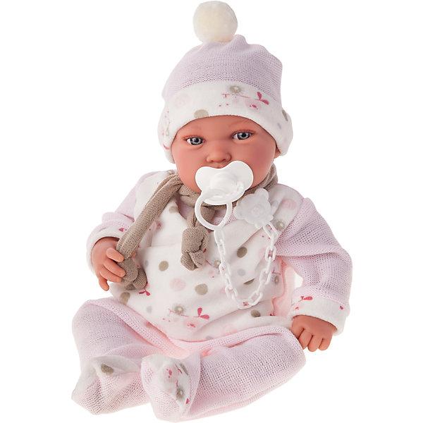 Кукла Камилла в розовом, 40 см, Munecas Antonio JuanКуклы<br>Кукла Камилла в розовом 40 см, Munecas Antonio Juan (Мунекас от Антонио Хуан) ? это очаровательная малышка от всемирно известного испанского бренда Мунекас от Антонио Хуан, который знаменит своими реалистичными куклами. Кукла изготовлена из винила высшего качества, ее тело ? мягконабивное, ручки и ножки подвижны, глазки не закрываются. <br>Выразительный взгляд голубых глазах, нежные черты лица, розовые щечки, пухленькие губки и курносый носик. Камилла умеет смеяться, если ему нажать на животик, при последующих нажатиях пупс произносит слова «мама» и «папа».<br>Кукла Камилла в розовом, 40 см, Munecas Antonio Juan (Мунекас от Антонио Хуан) разработана с учетом анатомических особенностей и мимики младенцев. Играя с пупсом, ваш ребенок реалистично проживает роль «мамы», учится ухаживать за малышом, заботиться о нем.<br>В комплекте с куклой идет соска, если ее достать из ротика ? малыш начинает плакать. Малышка Камилла можно смело брать с собой на прогулку: у него теплый дизайнерский комплект одежды, шапочка и теплый шарфик. Весь комплект одежды и его продуманные детали направлены на то, чтобы способствовать формированию чувства стиля и вкуса в одежде у вашей девочки.<br>Куклы JUAN ANTONIO munecas (Мунекас от Антонио Хуан) ? мечта девочки любого возраста!<br><br>Дополнительная информация:<br><br>- Вид игр: сюжетно-ролевые игры <br>- Дополнительные функции: смеется, произносит «мама» и «папа»<br>- Комплектация: кукла, соска<br>- Материал: пластик, винил, текстиль<br>- Высота куклы: 40 см<br>- Вес: 3 кг 300 г<br>- Особенности ухода: одежда ? ручная стирка, саму куклу мыть не рекомендуется <br><br>Подробнее:<br><br>• Для детей в возрасте: от 3 лет и до 6 лет<br>• Страна производитель: Испания<br>• Торговый бренд: JUAN ANTONIO munecas <br><br>Куклу Камиллу в розовом, 40 см, Munecas Antonio Juan (Мунекас от Антонио Хуан) (Мунекас от Антонио Хуан) можно купить в нашем интернет-магазине.<br><br>Ширина мм: 505<br>Глуби