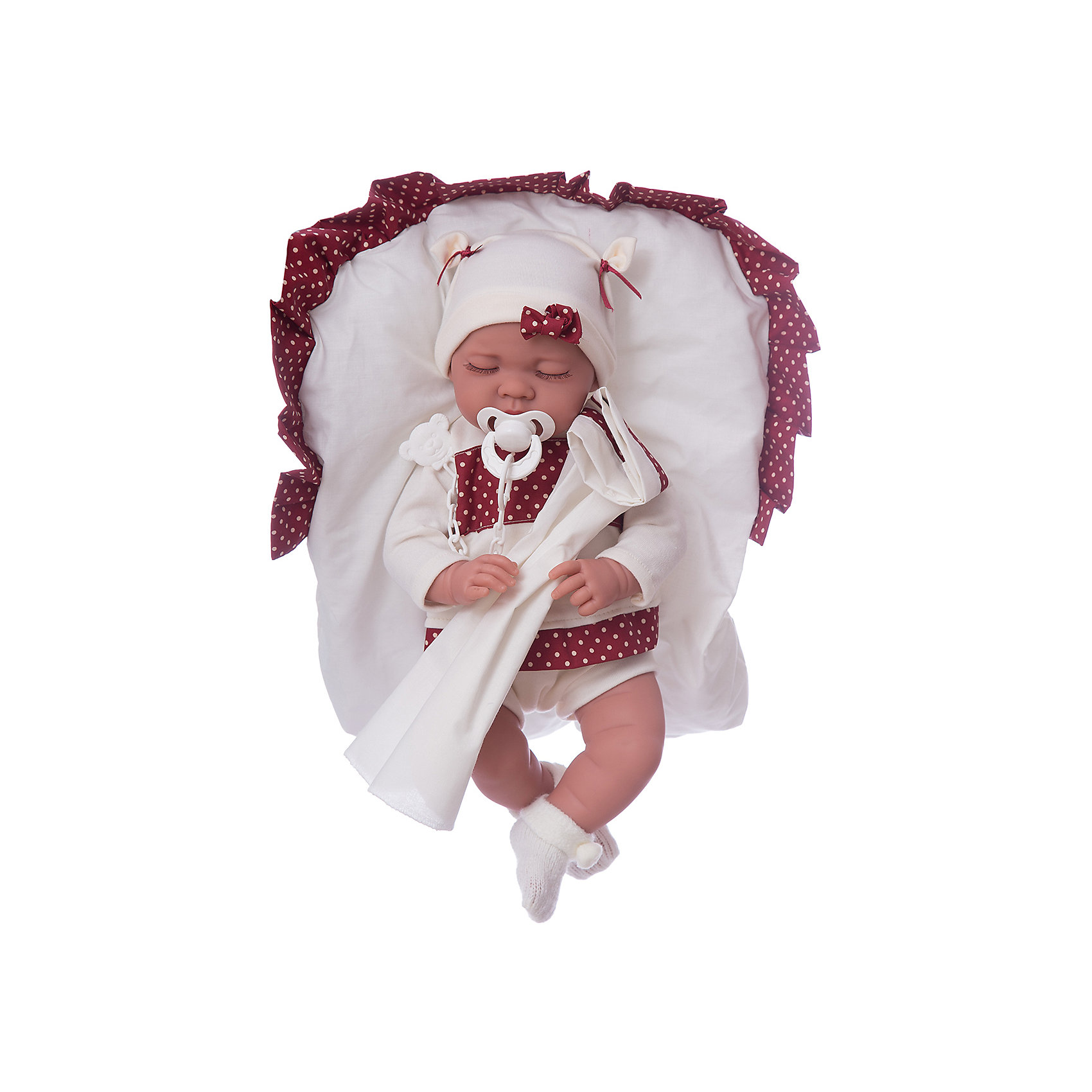 Кукла Рамона в гранатовом, 40смКлассические куклы<br>Кукла Рамона в гранатовом, 40 см, Munecas Antonio Juan (Мунекас от Антонио Хуан) ? это очаровательная спящая малышка от всемирно известного испанского бренда Мунекас от Антонио Хуан, который знаменит своими реалистичными куклами. Кукла изготовлена из винила высшего качества, ее тело ? мягконабивное, ручки и ножки подвижны, голова поворачивается в стороны. <br>Нежные черты лица, розовые щечки, пухленькие губки, курносый носик и расслабленное выражение лица ? что может быть лучше спящего малыша? Если Рамоне нажать на животик, она начинает по-детски лепетать. Замолчит малышка только после того, как ей дадут соску.<br>Кукла Рамона в гранатовом, 40 см, Munecas Antonio Juan (Мунекас от Антонио Хуан) разработана с учетом анатомических особенностей и мимики младенцев. Играя с пупсом, ваш ребенок реалистично проживает роль «мамы», учится ухаживать за малышом, заботиться о нем.<br>У малышки Рамоны стильный бело-гранатовый костюмчик, белые носочки и шапочка.<br>Куклы JUAN ANTONIO munecas (Мунекас от Антонио Хуан) ? мечта девочки любого возраста!<br><br>Дополнительная информация:<br><br>- Вид игр: сюжетно-ролевые игры <br>- Дополнительные функции: лепетание<br>- Комплектация: кукла, соска, подстилка<br>- Материал: пластик, винил, текстиль<br>- Высота куклы: 40 см<br>- Вес: 3 кг 700 г<br>- Батарейки: 3 шт. 3 LR44 (в комплекте)<br>- Особенности ухода: одежда ? ручная стирка, саму куклу мыть не рекомендуется <br><br>Подробнее:<br><br>• Для детей в возрасте: от 3 лет и до 6 лет<br>• Страна производитель: Испания<br>• Торговый бренд: JUAN ANTONIO munecas <br><br>Кукла Рамона в гранатовом, 40 см, Munecas Antonio Juan (Мунекас от Антонио Хуан) (Мунекас от Антонио Хуан) можно купить в нашем интернет-магазине.<br><br>Ширина мм: 505<br>Глубина мм: 265<br>Высота мм: 160<br>Вес г: 3700<br>Возраст от месяцев: 36<br>Возраст до месяцев: 72<br>Пол: Женский<br>Возраст: Детский<br>SKU: 4792888