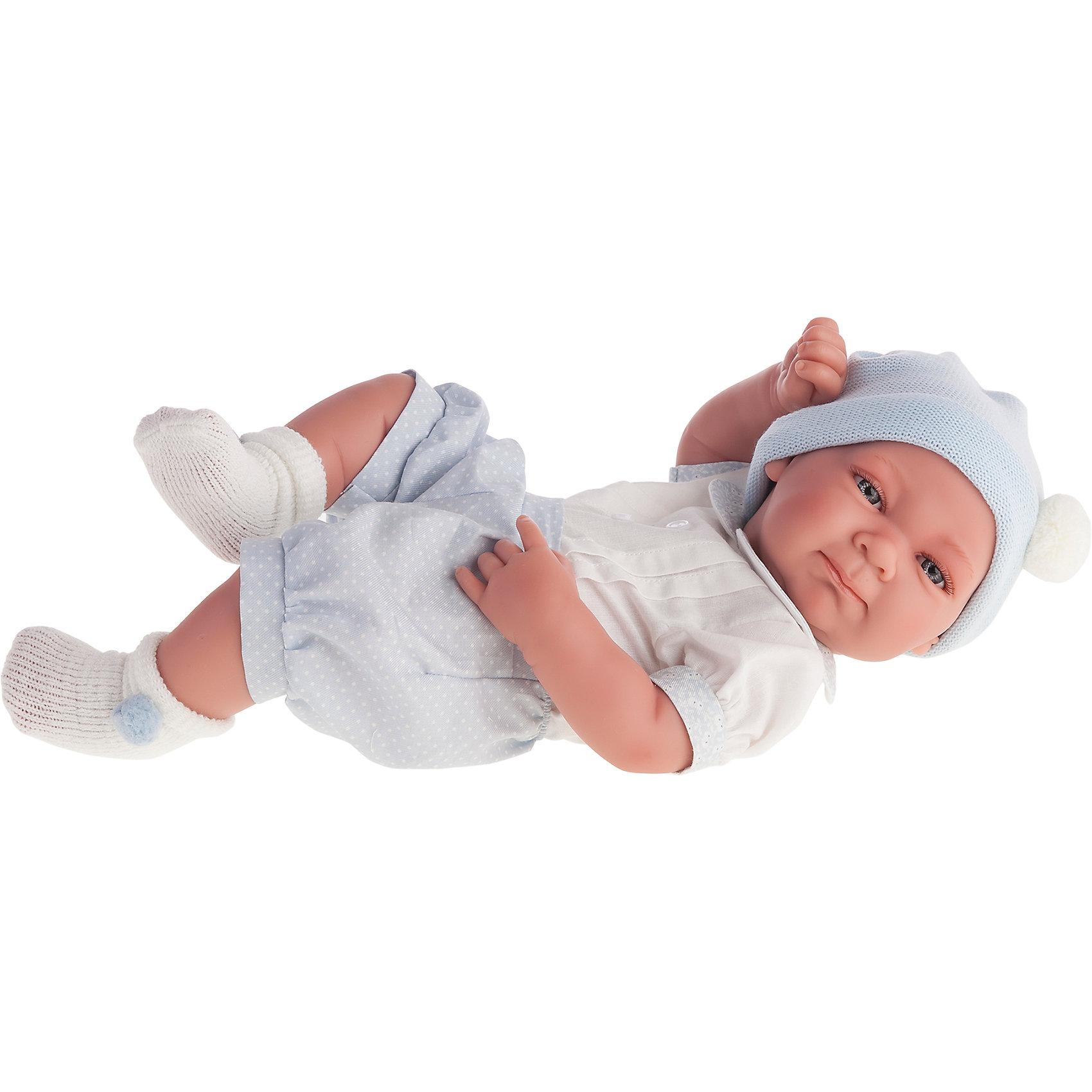 Кукла-младенец Оли (мальчик) в голубом, 42 см, Munecas Antonio JuanКукла-младенец Оли (мальчик) в голубом, 42 см, Munecas Antonio Juan (Мунекас от Антонио Хуан) ? это очаровательный малыш от всемирно известного испанского бренда Мунекас от Антонио Хуан, который знаменит своими реалистичными куклами. Кукла изготовлена из винила высшего качества, ручки и ножки подвижны, голова поворачивается в стороны, глазки не закрываются. <br>Нежные черты лица, розовые щечки, пухленькие губки, курносый носик.  <br>Кукла-младенец Оли (мальчик) в голубом, 42 см, Munecas Antonio Juan (Мунекас от Антонио Хуан) разработана с учетом анатомических особенностей и мимики младенцев. Играя с пупсом, ваш ребенок реалистично проживает роль «мамы», учится ухаживать за малышом, заботиться о нем.<br>У малыша Оли стильный наряд: голубой комбинезончик, белые носочки и голубая шапочка.<br>Куклы JUAN ANTONIO munecas (Мунекас от Антонио Хуан) ? мечта девочки любого возраста!<br><br>Дополнительная информация:<br><br>- Вид игр: сюжетно-ролевые игры <br>- Материал: винил, текстиль<br>- Высота куклы: 42 см<br>- Вес: 3 кг 650 г<br>- Особенности ухода: одежда ? ручная стирка, куклу можно купать <br><br>Подробнее:<br><br>• Для детей в возрасте: от 3 лет и до 6 лет<br>• Страна производитель: Испания<br>• Торговый бренд: JUAN ANTONIO munecas <br><br>Куклу-младенца Оли (мальчик) в голубом, 42 см, Munecas Antonio Juan (Мунекас от Антонио Хуан) (Мунекас от Антонио Хуан) можно купить в нашем интернет-магазине.<br><br>Ширина мм: 505<br>Глубина мм: 265<br>Высота мм: 160<br>Вес г: 3650<br>Возраст от месяцев: 36<br>Возраст до месяцев: 72<br>Пол: Женский<br>Возраст: Детский<br>SKU: 4792891