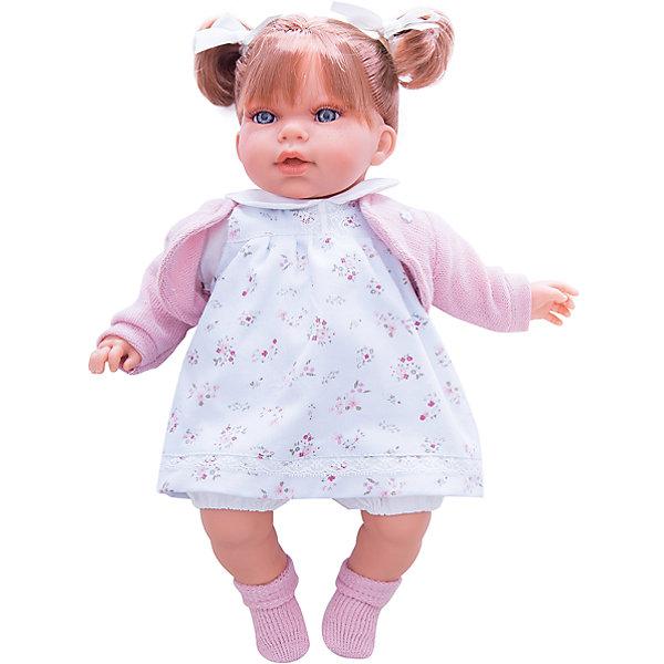 Кукла Лорена в белом, 37 см, Munecas Antonio JuanБренды кукол<br>Кукла Лорена в белом, 37 см, Munecas Antonio Juan (Мунекас от Антонио Хуан) ? это очаровательная маленькая девочка от всемирно известного испанского бренда Мунекас от Антонио Хуан, который знаменит своими реалистичными куклами. Кукла изготовлена из винила высшего качества, ее тело ? мягконабивное, ручки и ножки подвижны, голова поворачивается в стороны, глазки не закрываются. <br>Нежные черты лица, розовые щечки, пухленькие губки, курносый носик и рыжие волосы, собранные в два очаровательных хвостика.  Лорена умеет смеяться и говорить «мама» и «папа», если ей нажать на животик. <br>Кукла Лорена в белом, 37 см, Munecas Antonio Juan (Мунекас от Антонио Хуан) разработана с учетом анатомических особенностей и мимики младенцев. Играя с пупсом, ваш ребенок реалистично проживает роль «мамы», учится ухаживать за малышом, заботиться о нем.<br>У малышки Лорены красивый наряд: нежное платьице с цветочным принтом, теплая розовая кофточка, на ножках розовые носочки.<br>Куклы JUAN ANTONIO munecas (Мунекас от Антонио Хуан) ? мечта девочки любого возраста!<br><br>Дополнительная информация:<br><br>- Вид игр: сюжетно-ролевые игры <br>- Дополнительные функции: смеется, говорит «мама» и «папа»<br>- Материал: пластик, винил, текстиль<br>- Высота куклы: 37 см<br>- Вес: 6 кг <br>- Батарейки: 3 шт. 3 LR44 (в комплекте)<br>- Особенности ухода: одежда ? ручная стирка, саму куклу мыть не рекомендуется <br><br>Подробнее:<br><br>• Для детей в возрасте: от 3 лет и до 6 лет<br>• Страна производитель: Испания<br>• Торговый бренд: JUAN ANTONIO munecas <br><br>Куклу Лорену в белом, 37 см, Munecas Antonio Juan (Мунекас от Антонио Хуан) (Мунекас от Антонио Хуан) можно купить в нашем интернет-магазине.<br>Ширина мм: 440; Глубина мм: 245; Высота мм: 120; Вес г: 6000; Возраст от месяцев: 36; Возраст до месяцев: 72; Пол: Женский; Возраст: Детский; SKU: 4792903;