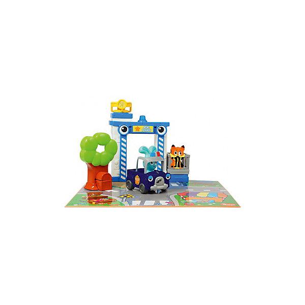 Бани - игровой набор Полицейская станция, OuapsМашинки<br>Бани - игровой набор Полицейская станция, Ouaps (Уапс) представляет собой игровой комплект для сюжетно-ролевых игр. В этот раз Бани предстает в образе полицейского. Имитация реального сюжета обеспечивается за счет дополнительных игровых атрибутов: коврика с изображением элементов городской жизни, специальной полицейской машинки, наблюдательной вышки  со звуком сирены и поворачивающимся прожектором. Кроме того, имеется клетка для преступника и дерево, у подножия которого есть сундук. Полицейская машинка имеет инерционный механизм и кузов, в который можно поместить Лиса. Возмутитель спокойствия и порядка ? хитрый Лис умеет петь песни и издавать разные звуки.<br>Бани - игровой набор Полицейская станция, Ouaps (Уапс) подарит увлекательную игру для детей в возрасте от одного года. Все предметы выполнены из качественного прочного пластика, не имеют острых углов и отсоединяющихся элементов, что делает этот набор безопасным даже для детей в возрасте до года. Игровой комплект позволит вашего ребенку развивать воображение. Его можно использовать как для одиночной игры, так и для групповых игр. <br><br>Дополнительная информация:<br><br>- Вид игр: сюжетно-ролевые игры<br>- Предназначение: для дома<br>- Материал: качественный пластик<br>- Батарейки: 6 шт. AA LR6<br>- Размер упаковки:  51,2*33*х10,8 см<br>- Вес: 798 г<br>- Комплектация: игровой коврик, кролик Бани, Лисенок, полицейская машинка, вышка для наблюдений, дерево с сундуком, клетка, батарейки<br>- Особенности ухода: разрешается мыть в мыльной воде<br><br>Подробнее:<br><br>• Для детей в возрасте: от 1 года до 3 лет<br>• Страна производитель: Китай<br>• Торговый бренд: Ouaps<br><br>Бани - игровой набор Полицейская станция, Ouaps (Уапс) можно купить в нашем интернет-магазине.<br>Ширина мм: 508; Глубина мм: 101; Высота мм: 330; Вес г: 1808; Возраст от месяцев: 12; Возраст до месяцев: 36; Пол: Унисекс; Возраст: Детский; SKU: 4792907;