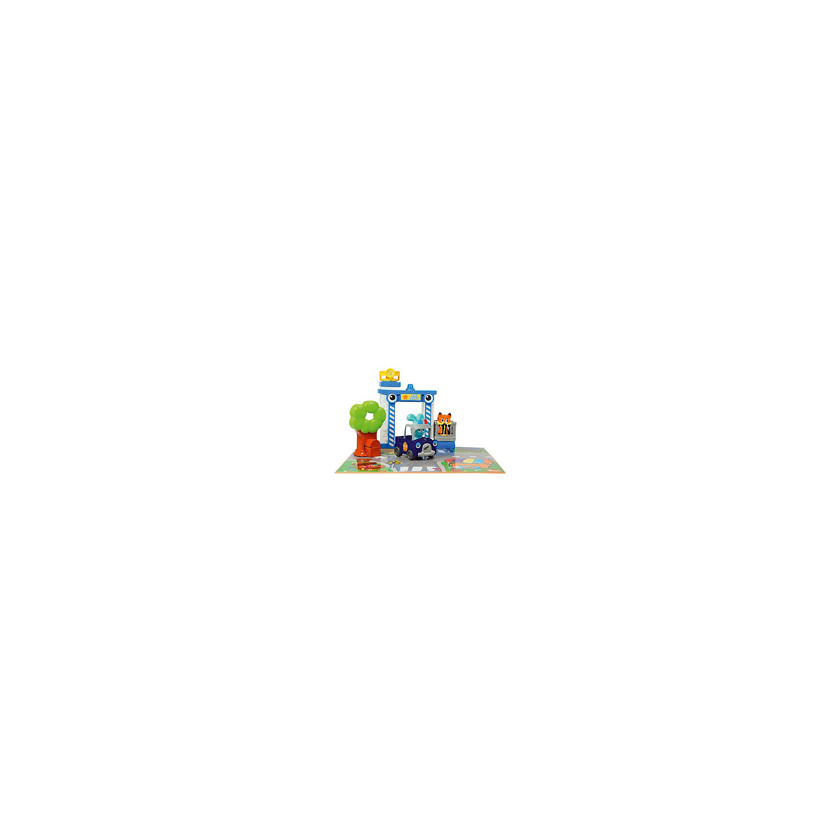 Бани - игровой набор Полицейская станция, OuapsРазвивающие игрушки<br>Бани - игровой набор Полицейская станция, Ouaps (Уапс) представляет собой игровой комплект для сюжетно-ролевых игр. В этот раз Бани предстает в образе полицейского. Имитация реального сюжета обеспечивается за счет дополнительных игровых атрибутов: коврика с изображением элементов городской жизни, специальной полицейской машинки, наблюдательной вышки  со звуком сирены и поворачивающимся прожектором. Кроме того, имеется клетка для преступника и дерево, у подножия которого есть сундук. Полицейская машинка имеет инерционный механизм и кузов, в который можно поместить Лиса. Возмутитель спокойствия и порядка ? хитрый Лис умеет петь песни и издавать разные звуки.<br>Бани - игровой набор Полицейская станция, Ouaps (Уапс) подарит увлекательную игру для детей в возрасте от одного года. Все предметы выполнены из качественного прочного пластика, не имеют острых углов и отсоединяющихся элементов, что делает этот набор безопасным даже для детей в возрасте до года. Игровой комплект позволит вашего ребенку развивать воображение. Его можно использовать как для одиночной игры, так и для групповых игр. <br><br>Дополнительная информация:<br><br>- Вид игр: сюжетно-ролевые игры<br>- Предназначение: для дома<br>- Материал: качественный пластик<br>- Батарейки: 6 шт. AA LR6<br>- Размер упаковки:  51,2*33*х10,8 см<br>- Вес: 798 г<br>- Комплектация: игровой коврик, кролик Бани, Лисенок, полицейская машинка, вышка для наблюдений, дерево с сундуком, клетка, батарейки<br>- Особенности ухода: разрешается мыть в мыльной воде<br><br>Подробнее:<br><br>• Для детей в возрасте: от 1 года до 3 лет<br>• Страна производитель: Китай<br>• Торговый бренд: Ouaps<br><br>Бани - игровой набор Полицейская станция, Ouaps (Уапс) можно купить в нашем интернет-магазине.<br><br>Ширина мм: 508<br>Глубина мм: 101<br>Высота мм: 330<br>Вес г: 1808<br>Возраст от месяцев: 12<br>Возраст до месяцев: 36<br>Пол: Унисекс<br>Возраст: Детский<br>SKU: 4792907