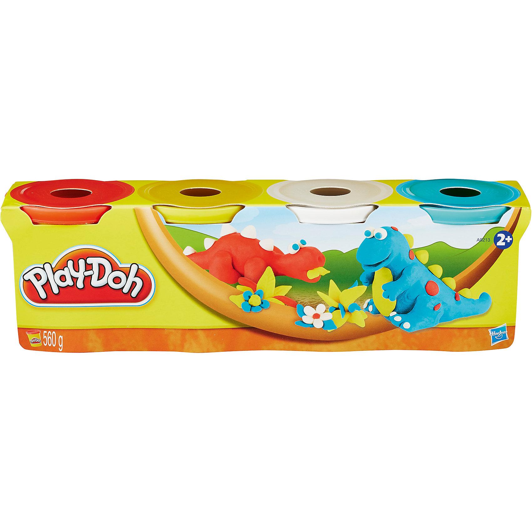 Hasbro Пластилин в 4-х банках, #3, Play-Doh hasbro play doh b5517 игровой набор из 4 баночек в ассортименте обновлённый
