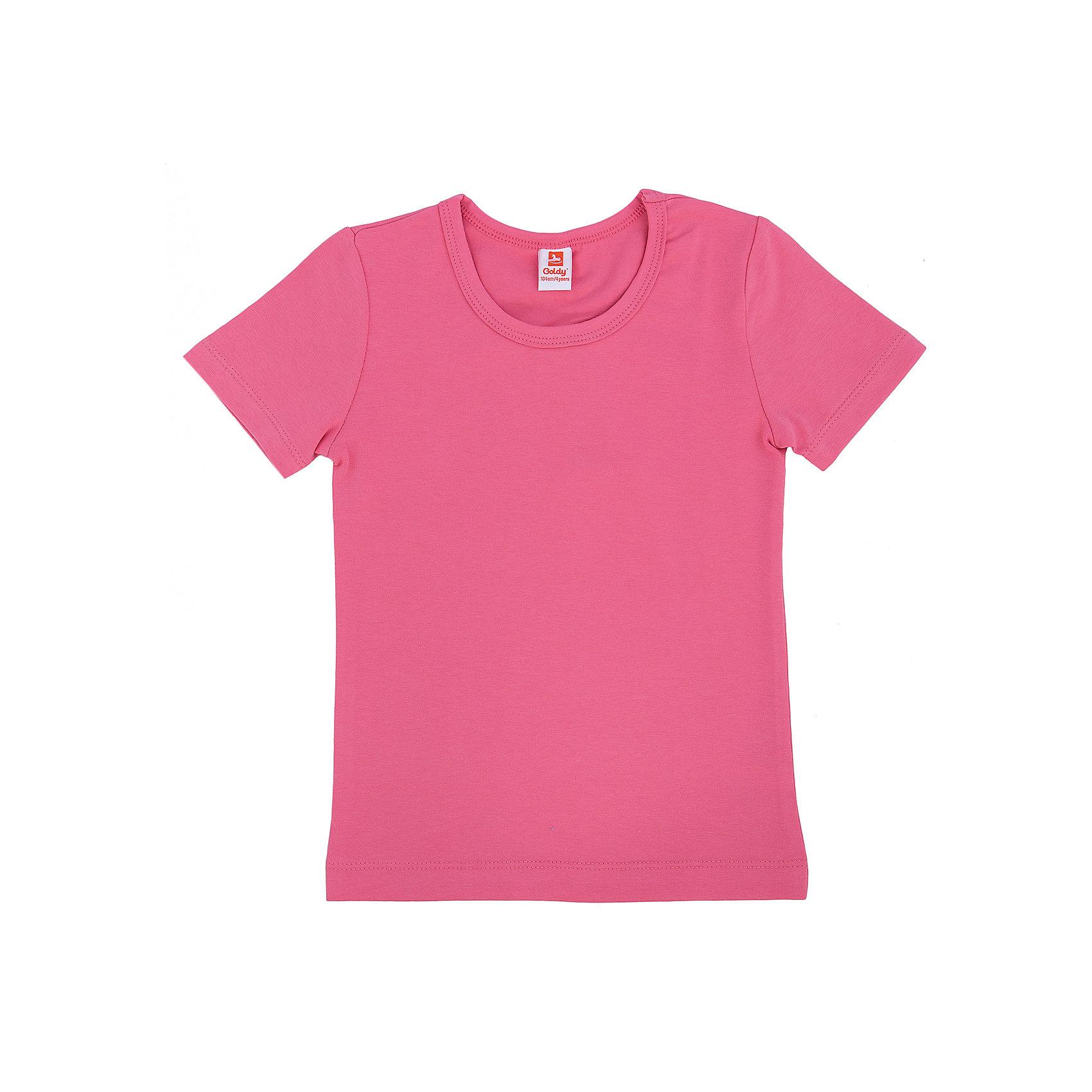 Футболка для девочки GoldyУдобная универсальная футболка для девочки поможет разнообразить гардероб, создать подходящий погоде ансамбль. Удобный крой и качественный материал обеспечат ребенку комфорт при ношении изделия. <br>Футболка смотрится аккуратно, хорошо сидит по фигуре. Яркий цвет делает ее акцентом в наряде. Материал - легкий, но прочный, отлично подходит для детской одежды, состоит преимущественно из дышащего натурального хлопка. Очень приятен на ощупь, не вызывает аллергии.<br><br>Дополнительная информация:<br><br>материал: хлопок 96%, эластан 4%;<br>цвет: розовый;<br>круглый горловой вырез;<br>короткие рукава.<br><br>Футболку для девочки от бренда Goldy (Голди) можно купить в нашем магазине.<br><br>Ширина мм: 199<br>Глубина мм: 10<br>Высота мм: 161<br>Вес г: 151<br>Цвет: розовый<br>Возраст от месяцев: 36<br>Возраст до месяцев: 48<br>Пол: Женский<br>Возраст: Детский<br>Размер: 92,122,116,110,104,98<br>SKU: 4793735