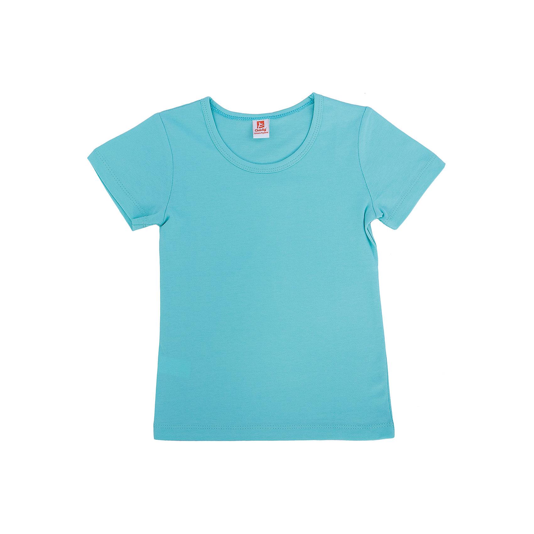 Футболка для девочки GoldyФутболки, поло и топы<br>Удобная универсальная футболка для девочки поможет разнообразить гардероб, создать подходящий погоде ансамбль. Удобный крой и качественный материал обеспечат ребенку комфорт при ношении изделия. <br>Футболка смотрится аккуратно, хорошо сидит по фигуре. Яркий цвет делает ее акцентом в наряде. Материал - легкий, но прочный, отлично подходит для детской одежды, состоит  из дышащего натурального хлопка. Очень приятен на ощупь, не вызывает аллергии.<br><br>Дополнительная информация:<br><br>материал: 100% хлопок;<br>цвет: зеленый;<br>круглый горловой вырез;<br>короткие рукава.<br><br>Футболку для девочки от бренда Goldy (Голди) можно купить в нашем магазине.<br><br>Ширина мм: 199<br>Глубина мм: 10<br>Высота мм: 161<br>Вес г: 151<br>Цвет: мятный<br>Возраст от месяцев: 18<br>Возраст до месяцев: 24<br>Пол: Женский<br>Возраст: Детский<br>Размер: 92,98,104,110,116,122<br>SKU: 4793749