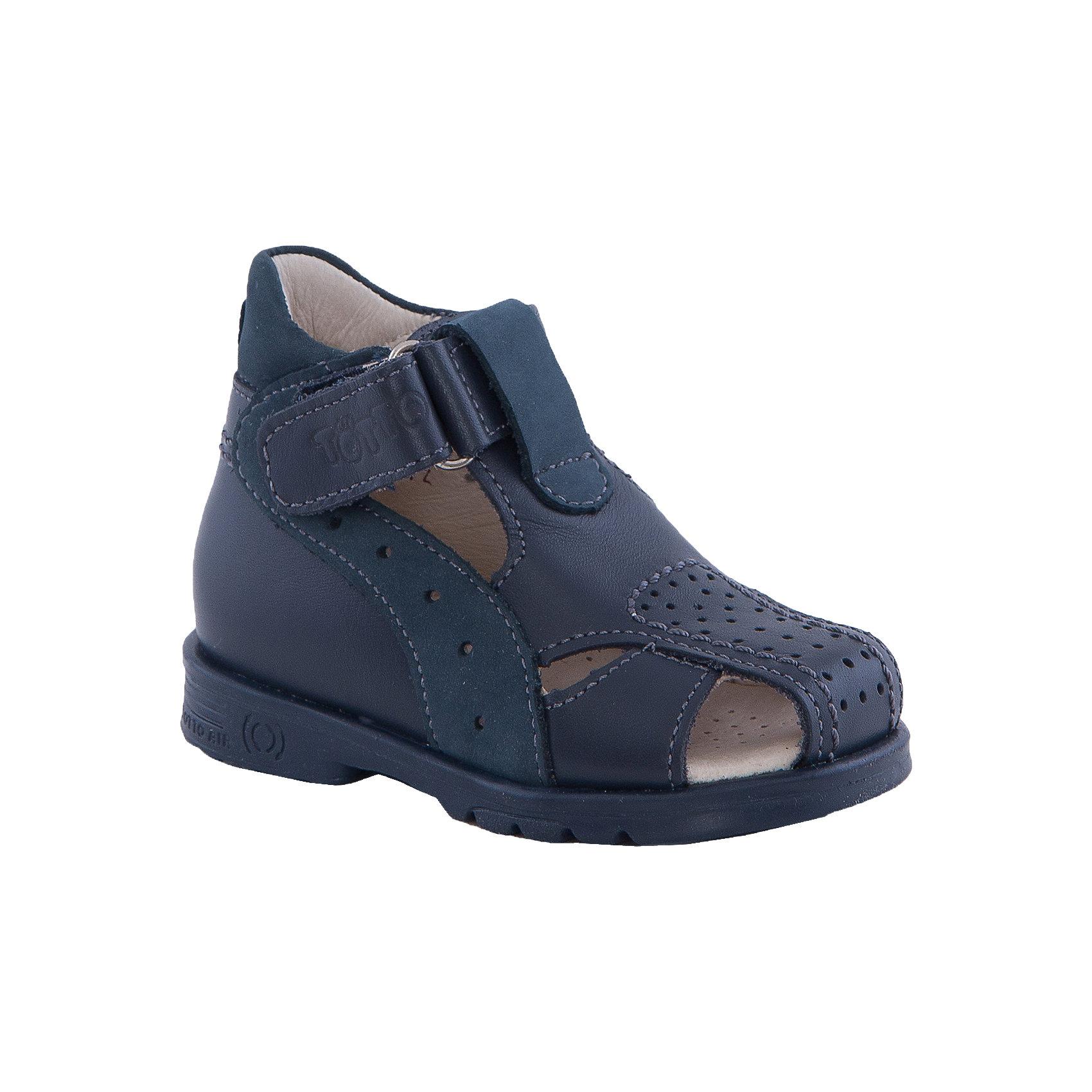 Сандалии для мальчика ТОТТОСандалии для мальчика ТОТТО<br>Стильные и удобные сандалии для мальчика от Российского производителя ТОТТО. Произведены в соответствии с рекомендациями ортопедов, имеют супинатор, который предотвращает образование плоскостопия и жесткий задник, продленный до середины стопы. Сандалии обеспечивают плотную фиксацию голеностопа и имеют мягкие нейтрализующие швы. Каблук Томаса распределяет нагрузку на стопу и не дает ей заваливаться внутрь. Свободная, широкая передняя часть сандалий не ограничивает формирование и рост детской стропы и пальчиков. Сандалии выполнены в темно-синем цвете и застегиваются на липучку. <br>Дополнительная информация:<br>- Тип застежки: липучка.<br>Состав:<br>- Натуральная кожа<br><br>Сандалии для мальчика ТОТТО можно купить в нашем магазине.<br>Подробнее:<br>• Для детей в возрасте: от 6-12 мес.<br>• Номер товара: 4794565<br>Страна производитель: Российская Федерация<br><br>Ширина мм: 219<br>Глубина мм: 154<br>Высота мм: 121<br>Вес г: 343<br>Цвет: синий<br>Возраст от месяцев: 9<br>Возраст до месяцев: 12<br>Пол: Мужской<br>Возраст: Детский<br>Размер: 20,26,19,25,24,23,22,21<br>SKU: 4794564