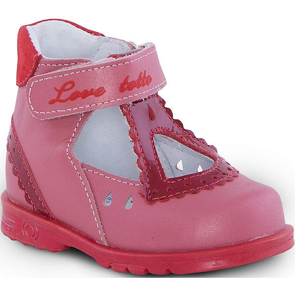 Туфли для девочки ТОТТОТуфли<br>Туфли для девочки ТОТТО<br>Красивые и удобные туфли для девочки от Российского производителя ТОТТО. Произведены в соответствии с рекомендациями ортопедов, имеют супинатор, который предотвращает образование плоскостопия, и жесткий задник, продленный до середины стопы. Туфли обеспечивают плотную фиксацию голеностопа и имеют мягкие нейтрализующие швы. Каблук Томаса распределяет нагрузку на стопу и не дает ей заваливаться внутрь. Свободная, широкая передняя часть туфель не ограничивает формирование и рост детской стропы и пальчиков. Упругая подошва позволяет защитить еще не развитые мышцы стоп и связки от растяжения и повреждения. Сочный цвет красного грейпфута туфель отлично сочетается с минималистичной отделкой туфель. Застежка на липучке позволяет легко застегивать обувь на ножке ребенка. Идеальные туфельки как для праздника,так и на каждый день!<br>Дополнительная информация:<br>- Тип застежки: липучка<br>Состав:<br>- Натуральная кожа<br>Туфли для девочки ТОТТО можно купить в нашем магазине.<br>Подробнее:<br>Для детей в возрасте: от 6-12 мес.<br>Номер товара: 4794581<br>Страна производитель: Российская Федерация<br><br>Ширина мм: 227<br>Глубина мм: 145<br>Высота мм: 124<br>Вес г: 325<br>Цвет: красный<br>Возраст от месяцев: 12<br>Возраст до месяцев: 15<br>Пол: Женский<br>Возраст: Детский<br>Размер: 21,19,26,25,24,23,22,20<br>SKU: 4794580