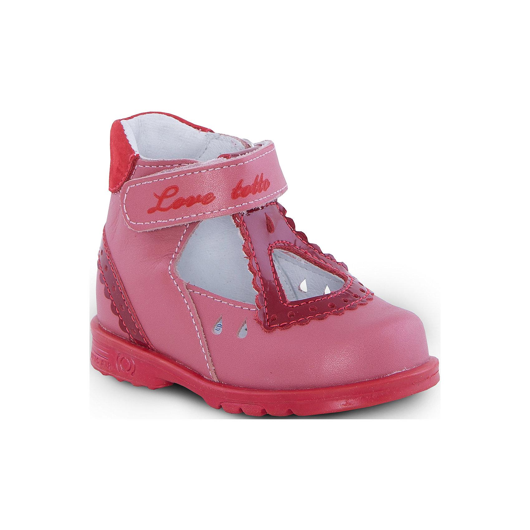 Туфли для девочки ТОТТОТуфли для девочки ТОТТО<br>Красивые и удобные туфли для девочки от Российского производителя ТОТТО. Произведены в соответствии с рекомендациями ортопедов, имеют супинатор, который предотвращает образование плоскостопия, и жесткий задник, продленный до середины стопы. Туфли обеспечивают плотную фиксацию голеностопа и имеют мягкие нейтрализующие швы. Каблук Томаса распределяет нагрузку на стопу и не дает ей заваливаться внутрь. Свободная, широкая передняя часть туфель не ограничивает формирование и рост детской стропы и пальчиков. Упругая подошва позволяет защитить еще не развитые мышцы стоп и связки от растяжения и повреждения. Сочный цвет красного грейпфута туфель отлично сочетается с минималистичной отделкой туфель. Застежка на липучке позволяет легко застегивать обувь на ножке ребенка. Идеальные туфельки как для праздника,так и на каждый день!<br>Дополнительная информация:<br>- Тип застежки: липучка<br>Состав:<br>- Натуральная кожа<br>Туфли для девочки ТОТТО можно купить в нашем магазине.<br>Подробнее:<br>Для детей в возрасте: от 6-12 мес.<br>Номер товара: 4794581<br>Страна производитель: Российская Федерация<br><br>Ширина мм: 227<br>Глубина мм: 145<br>Высота мм: 124<br>Вес г: 325<br>Цвет: красный<br>Возраст от месяцев: 12<br>Возраст до месяцев: 15<br>Пол: Женский<br>Возраст: Детский<br>Размер: 21,26,19,20,22,23,24,25<br>SKU: 4794580