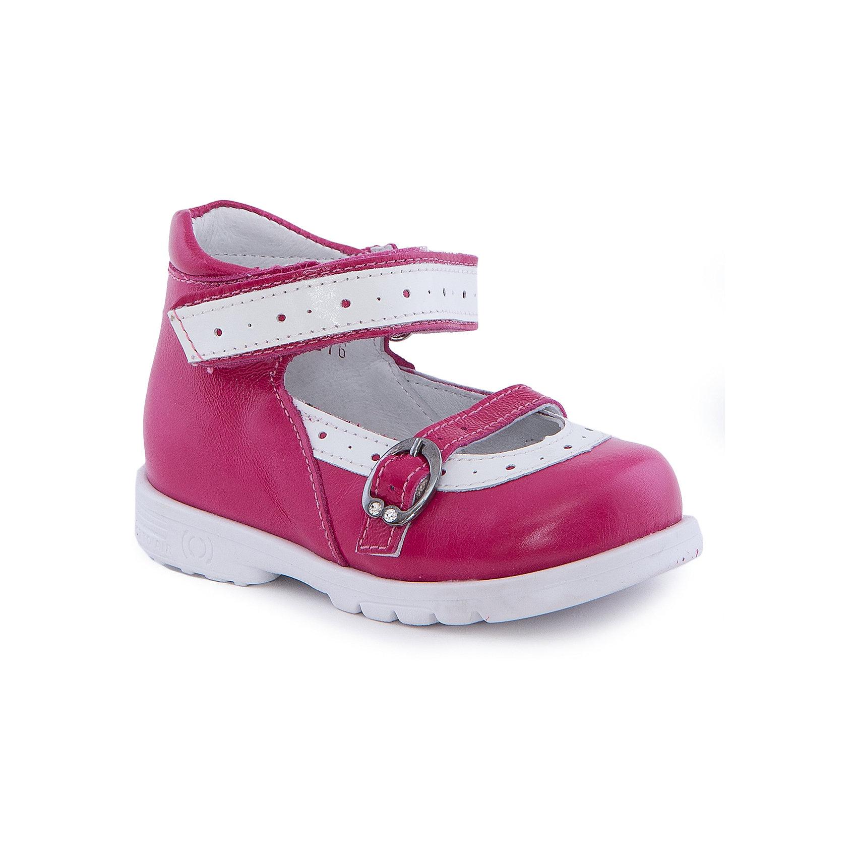 Туфли для девочки ТОТТОТуфли<br>Туфли для девочки ТОТТО<br>Красивые и удобные туфли для девочки от Российского производителя ТОТТО. Произведены в соответствии с рекомендациями ортопедов, имеют супинатор, который предотвращает образование плоскостопия и жесткий задник, продленный до середины стопы. Туфли обеспечивают плотную фиксацию голеностопа и имеют мягкие нейтрализующие швы. Каблук Томаса распределяет нагрузку на стопу и не дает ей заваливаться внутрь. Свободная, широкая передняя часть сандалий не ограничивает формирование и рост детской стропы и пальчиков. Туфли выполнены в красном цвете, который прекрасно дополняется белыми деталями отделки. Туфли застегиваются на липучку, а застежка регулирует ширину по размеру ножки ребенка.<br>Дополнительная информация:<br>- Тип застежки: липучка.<br>Состав:<br>- Натуральная кожа<br><br>Туфли для девочки ТОТТО можно купить в нашем магазине.<br>Подробнее: <br>• Для детей в возрасте: от 18-24 мес.<br>• Номер товара: 4794721<br>Страна производитель: Российская Федерация<br><br>Ширина мм: 227<br>Глубина мм: 145<br>Высота мм: 124<br>Вес г: 325<br>Цвет: розовый<br>Возраст от месяцев: 12<br>Возраст до месяцев: 15<br>Пол: Женский<br>Возраст: Детский<br>Размер: 21,26,22,23,24,25<br>SKU: 4794720
