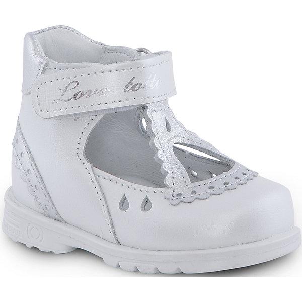 Туфли для девочки ТОТТООбувь<br>Туфли для девочки ТОТТО<br>Стильные и удобные туфли для девочки от Российского производителя ТОТТО. Произведены в соответствии с рекомендациями ортопедов, имеют супинатор, который предотвращает образование плоскостопия, и жесткий задник, продленный до середины стопы. Туфли обеспечивают плотную фиксацию голеностопа и имеют мягкие нейтрализующие швы. Каблук Томаса распределяет нагрузку на стопу и не дает ей заваливаться внутрь. Свободная, широкая передняя часть туфель не ограничивает формирование и рост детской стропы и пальчиков. Упругая подошва позволяет защитить еще не развитые мышцы стоп и связки от растяжения и повреждения. Стильный серый цвет туфель отлично сочетается с черной отделкой деталей и дизайно. Застежка на липучке позволяет легко застегивать обувь на ножке ребенка. Идеальные туфельки как для праздника,так и на каждый день!<br>Дополнительная информация:<br>- Тип застежки: липучка<br>Состав:<br>- Натуральная кожа<br>Туфли для девочки ТОТТО можно купить в нашем магазине.<br>Подробнее:<br>Для детей в возрасте: от 6-12 мес.<br>Номер товара: 4794810<br>Страна производитель: Российская Федерация<br><br>Ширина мм: 227<br>Глубина мм: 145<br>Высота мм: 124<br>Вес г: 325<br>Цвет: белый<br>Возраст от месяцев: 6<br>Возраст до месяцев: 9<br>Пол: Женский<br>Возраст: Детский<br>Размер: 19,26,25,24,23,22,21,20<br>SKU: 4794809