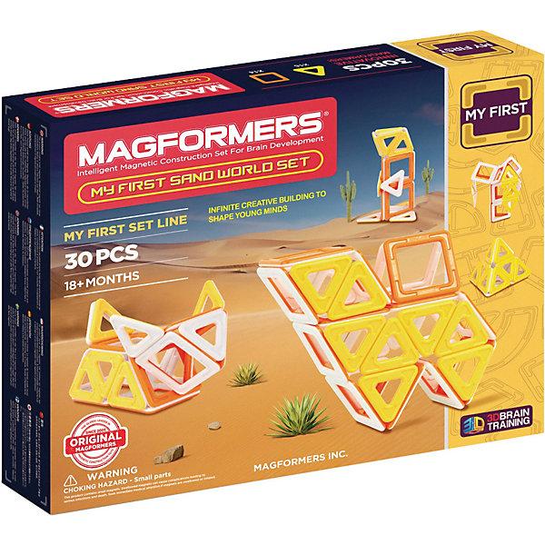 Магнитный конструктор My First Sand World, MAGFORMERSМагнитные конструкторы<br>Характеристики:<br><br>• возраст: от 3 лет;<br>• материал: пластмасса, металл;<br>• в наборе: 30 деталей: 16 треугольников, 14 квадратов;<br>• вес упаковки: 500 гр.;<br>• размер упаковки: 28х24х5 см.<br><br>Оригинальный магнитный конструктор My First Forest Magformers состоит из квадратов и треугольников трех цветов, сделанных из прочного непрозрачного пластика. Уникальность игры заключается в особом строении деталей с магнитами, из которых можно собирать неограниченное количество разных конструкций.<br><br>Как только детали соприкасаются, магниты внутри поворачиваются нужным полюсом друг к другу, надежно скрепляясь между собой. Сборка происходит легко и быстро. Детали сами становятся на нужное место, при этом без труда разбираются для новых игр.<br><br>Ребенок сможет собрать фигуры разных животных и предметов пустыни, а поможет в этом книга идей. Кроме того, можно придумать свои фигуры – ограничивает только фантазия.<br><br>Все части конструктора соединяются с любыми другими наборами Magformers, что делает игру еще разнообразней и увлекательней. <br><br>Занятия с магнитным конструктором развивают творческие способности, пространственное мышление и мелкую моторику, а также знакомят с геометрическими фигурами и цветами. Конструктор выполнен из сертифицированных безопасных материалов.<br><br>Магнитный конструктор My First Sand World, Magformers можно купить в нашем интернет-магазине.<br>Ширина мм: 240; Глубина мм: 280; Высота мм: 50; Вес г: 608; Возраст от месяцев: 24; Возраст до месяцев: 48; Пол: Унисекс; Возраст: Детский; SKU: 4794833;