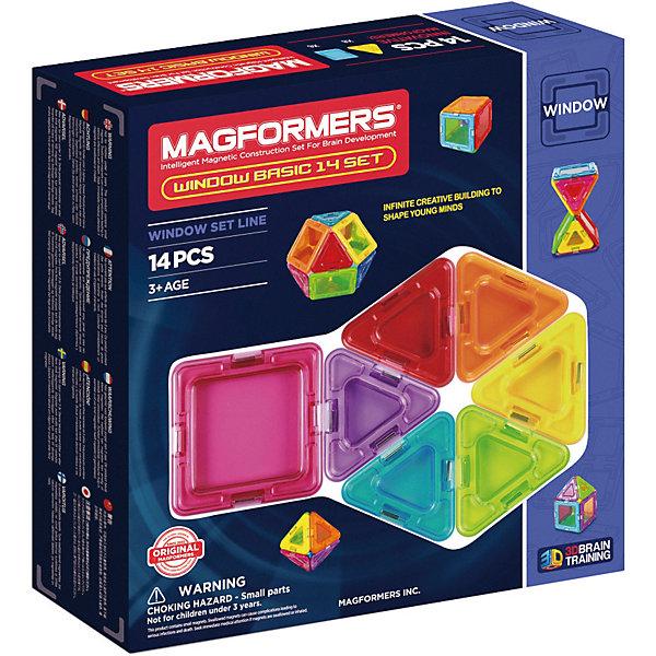Магнитный конструктор Window Basic, MAGFORMERSМагнитные конструкторы<br>Характеристики:<br><br>• возраст: от 3 лет;<br>• материал: пластмасса, металл;<br>• в наборе: 14 деталей: 8 треугольников, 6 квадратов;<br>• вес упаковки: 350 гр.;<br>• размер упаковки: 21х22х5 см.<br><br>Оригинальный магнитный конструктор Window Basic Magformers состоит из квадратов и треугольников, сделанных из прочного прозрачного пластика с окошками в центре. Уникальность игры заключается в особом строении деталей с магнитами, из которых можно собирать неограниченное количество разных сооружений.<br><br>Как только детали соприкасаются, магниты внутри поворачиваются нужным полюсом друг к другу, надежно скрепляясь между собой. Сборка происходит легко и быстро. Детали сами становятся на нужное место, при этом без труда разбираются для новых игр.<br><br>Также предусмотрена книга идей для сборки. Кроме того, ребенок сам сможет придумать новые предметы для строительства, например, цветок или домик. Наличие прозрачных окошек делает модели визуально объемнее.<br><br>Все части конструктора соединяются с любыми другими наборами Magformers, что делает игру еще разнообразней и увлекательней. <br><br>Занятия с магнитным конструктором развивают творческие способности, пространственное мышление и мелкую моторику, а также знакомят с геометрическими фигурами и цветами. Конструктор выполнен из сертифицированных безопасных материалов.<br><br>Магнитный конструктор Window Basic, Magformers можно купить в нашем интернет-магазине.<br>Ширина мм: 220; Глубина мм: 210; Высота мм: 50; Вес г: 400; Возраст от месяцев: 36; Возраст до месяцев: 84; Пол: Унисекс; Возраст: Детский; SKU: 4794839;