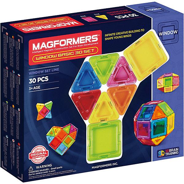 Магнитный конструктор Window Basic, MAGFORMERSМагнитные конструкторы<br>Характеристики:<br><br>• возраст: от 3 лет;<br>• материал: пластмасса, металл;<br>• в наборе: 30 деталей;<br>• вес упаковки: 600 гр.;<br>• размер упаковки: 24х29х5 см.<br><br>Оригинальный магнитный конструктор Window Basic Magformers состоит из квадратов и треугольников, сделанных из прочного прозрачного пластика с окошками в центре. Уникальность игры заключается в особом строении деталей с магнитами, из которых можно собирать неограниченное количество разных сооружений.<br><br>Как только детали соприкасаются, магниты внутри поворачиваются нужным полюсом друг к другу, надежно скрепляясь между собой. Сборка происходит легко и быстро. Детали сами становятся на нужное место, при этом без труда разбираются для новых игр.<br><br>Также предусмотрена книга идей для сборки. Кроме того, ребенок сам сможет придумать новые предметы для строительства, например, цветок или красочный куб. Наличие прозрачных окошек делает модели визуально объемнее.<br><br>Все части конструктора соединяются с любыми другими наборами Magformers, что делает игру еще разнообразней и увлекательней. <br><br>Занятия с магнитным конструктором развивают творческие способности, пространственное мышление и мелкую моторику, а также знакомят с геометрическими фигурами и цветами. Конструктор выполнен из сертифицированных безопасных материалов.<br><br>Магнитный конструктор Window Basic, Magformers можно купить в нашем интернет-магазине.<br>Ширина мм: 245; Глубина мм: 290; Высота мм: 50; Вес г: 692; Возраст от месяцев: 36; Возраст до месяцев: 84; Пол: Унисекс; Возраст: Детский; SKU: 4794840;
