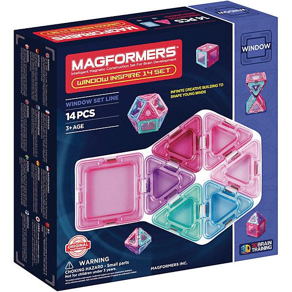 Магнитный конструктор Window Inspire, MAGFORMERSМагнитные конструкторы<br>Характеристики:<br><br>• возраст: от 3 лет;<br>• материал: пластмасса, металл;<br>• в наборе: 14 деталей: 8 треугольников, 6 квадратов;<br>• вес упаковки: 340 гр.;<br>• размер упаковки: 21х22х5 см.<br><br>Оригинальный магнитный конструктор Window Inspire Magformers состоит из квадратов и треугольников, сделанных из прочного прозрачного пластика с окошками в центре. Уникальность игры заключается в особом строении деталей с магнитами, из которых можно собирать неограниченное количество разных сооружений.<br><br>Как только детали соприкасаются, магниты внутри поворачиваются нужным полюсом друг к другу, надежно скрепляясь между собой. Сборка происходит легко и быстро. Детали сами становятся на нужное место, при этом без труда разбираются для новых игр.<br><br>Предусмотрена книга идей для сборки самых разных моделей – от цветка до ракеты. Кроме того, ребенок сам сможет придумать новые предметы для строительства. Наличие прозрачных окошек делает модели визуально объемнее.<br><br>Все части конструктора соединяются с любыми другими наборами Magformers, что делает игру еще разнообразней и увлекательней. <br><br>Занятия с магнитным конструктором развивают творческие способности, пространственное мышление и мелкую моторику, а также знакомят с геометрическими фигурами и цветами. Конструктор выполнен из сертифицированных безопасных материалов.<br><br>Магнитный конструктор Window Inspire, Magformers можно купить в нашем интернет-магазине.<br>Ширина мм: 220; Глубина мм: 210; Высота мм: 50; Вес г: 400; Возраст от месяцев: 36; Возраст до месяцев: 84; Пол: Унисекс; Возраст: Детский; SKU: 4794841;
