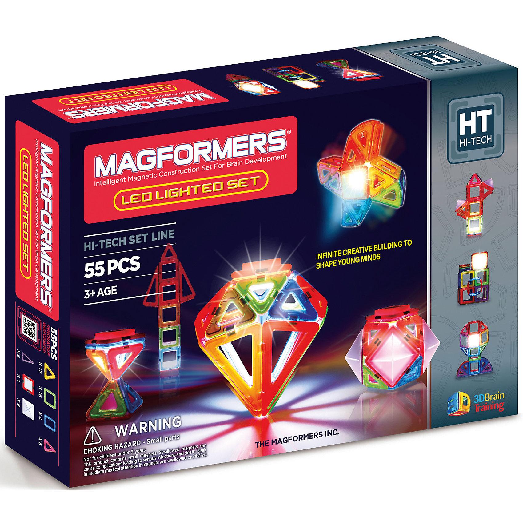 MAGFORMERS Магнитный конструктор Led Lighted, MAGFORMERS guide craft магнитный конструктор better builders career people
