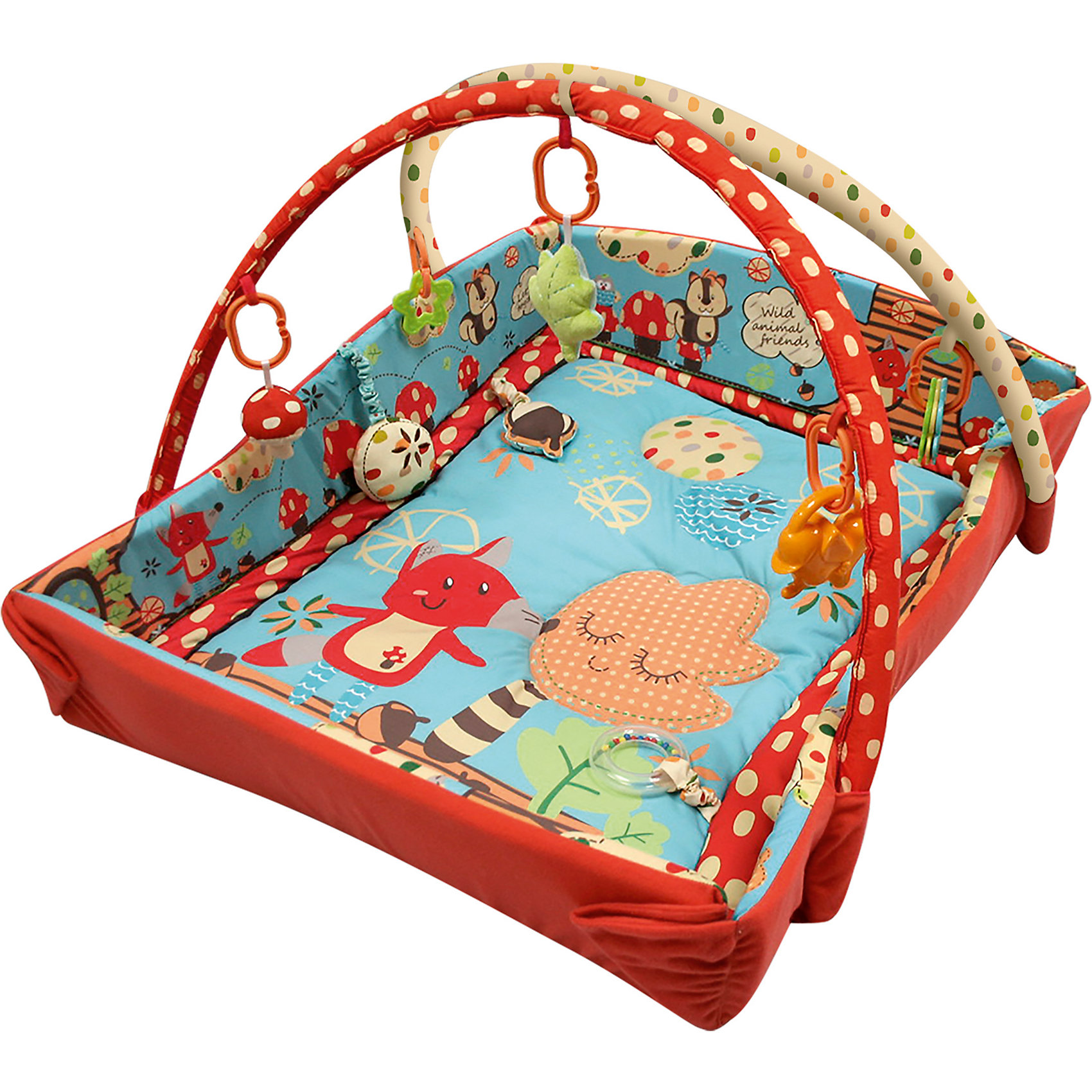 Roxy-Kids Развивающий коврик Лисичка и ее друзья с бортиками, Roxy-Kids roxy kids с прицелом лягушка голубой